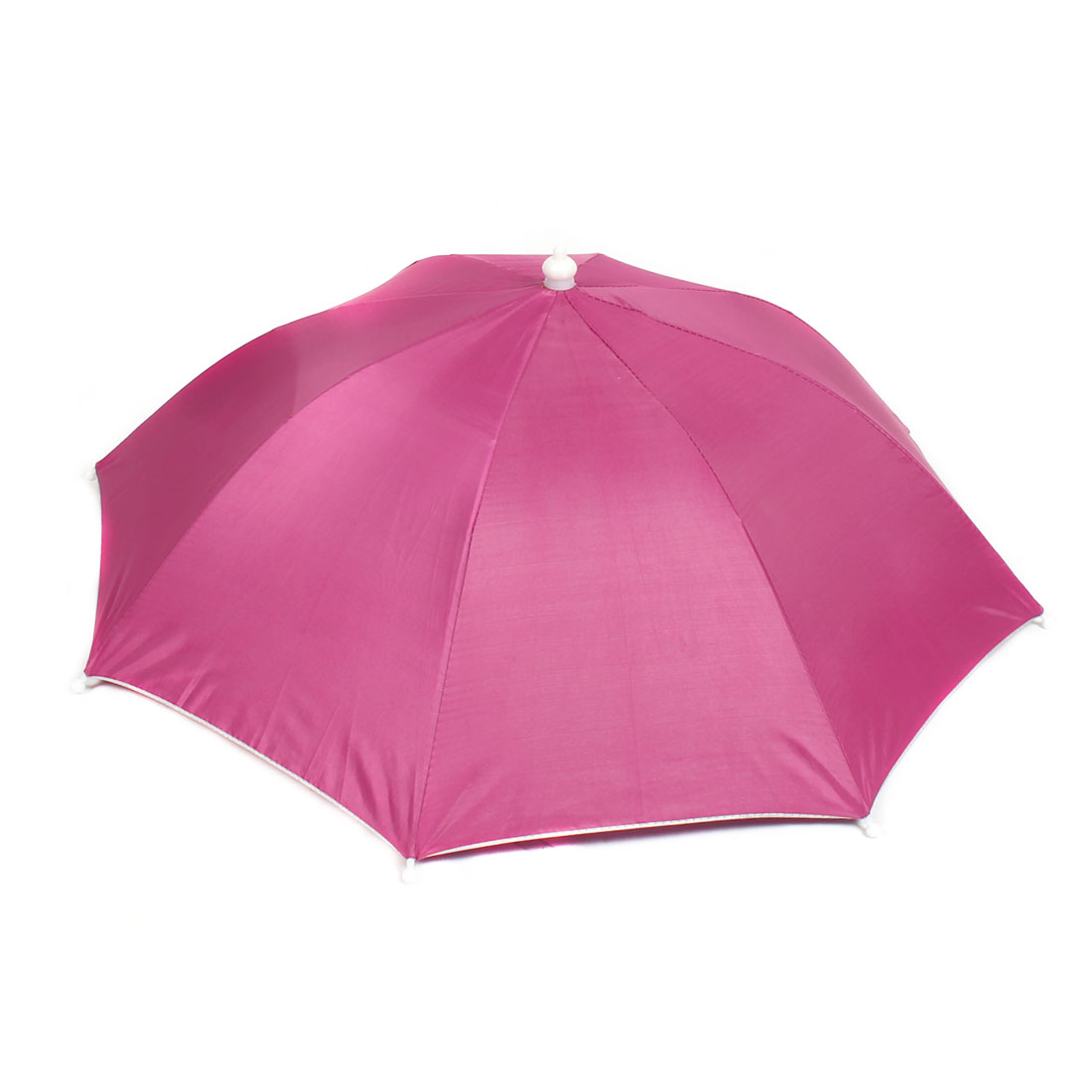 Outdoor Fishing Camping Sun Rain Headband Foldable Umbrella Hat Cap Fuchsia