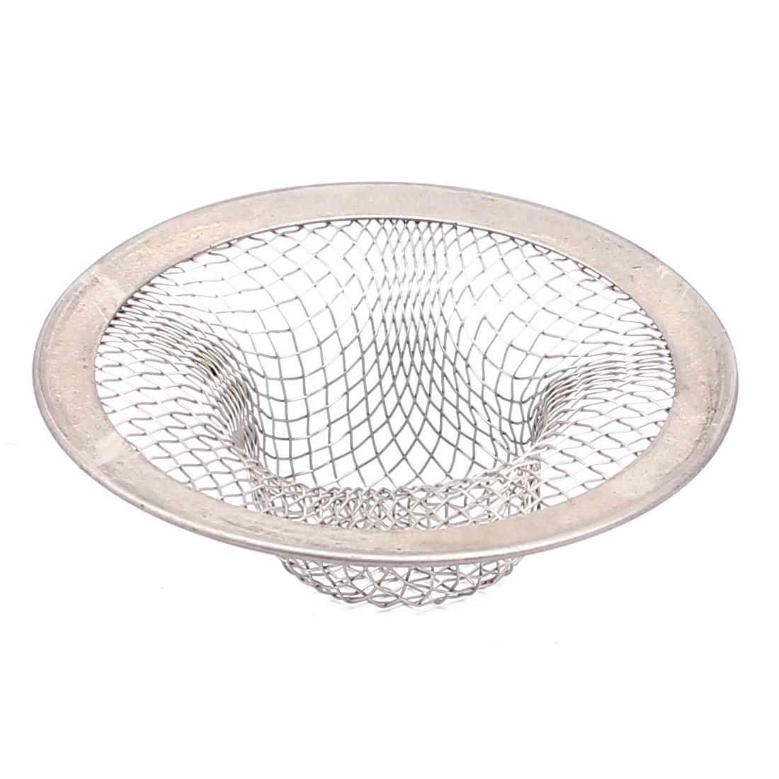Bath Basin Sink Strainer Filter Sieve Drain Net Silver Tone 45mm Mesh Basket Dia