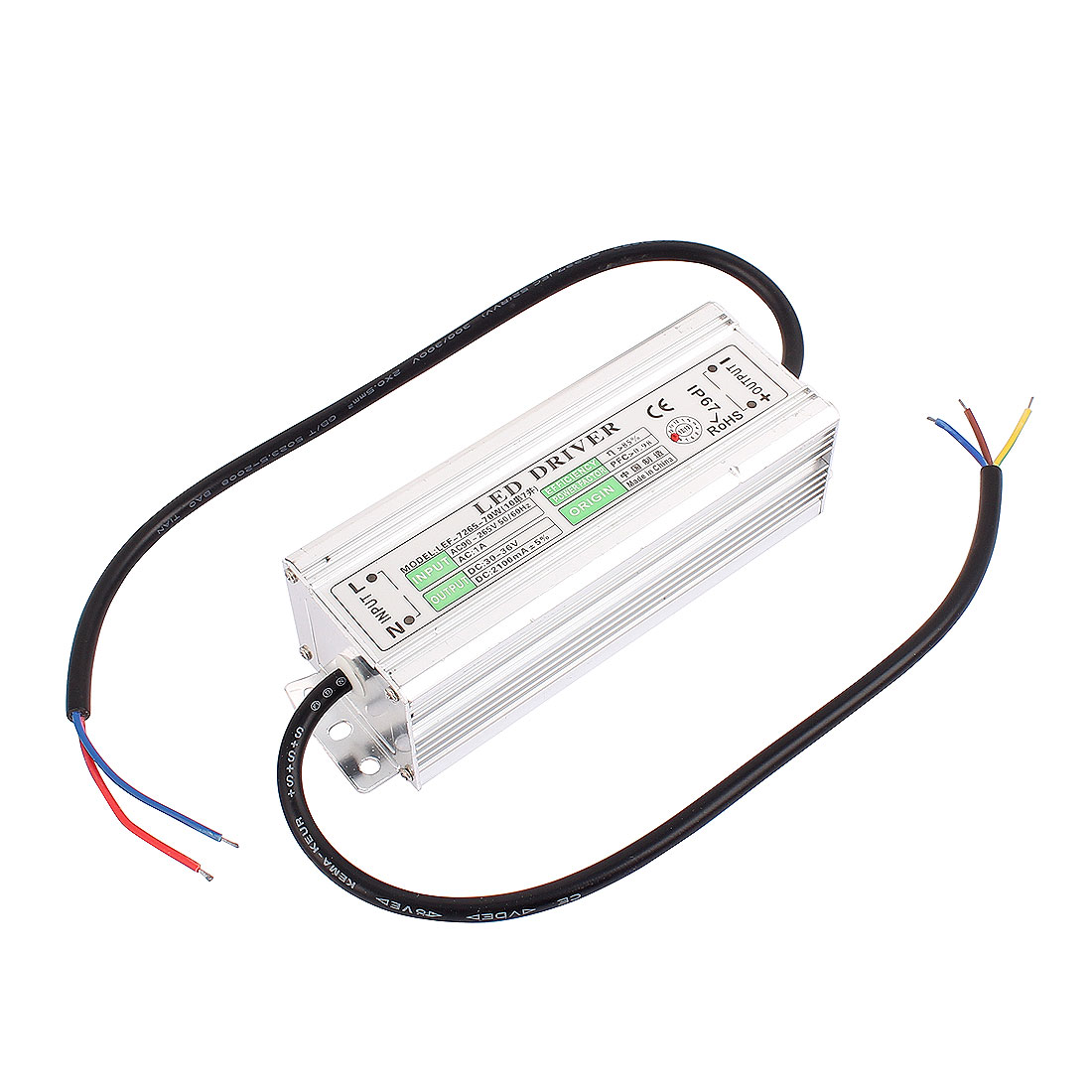AC90-265V to DC 30-36V 70W Transformer IP67 Waterproof LED Driver Power Supply
