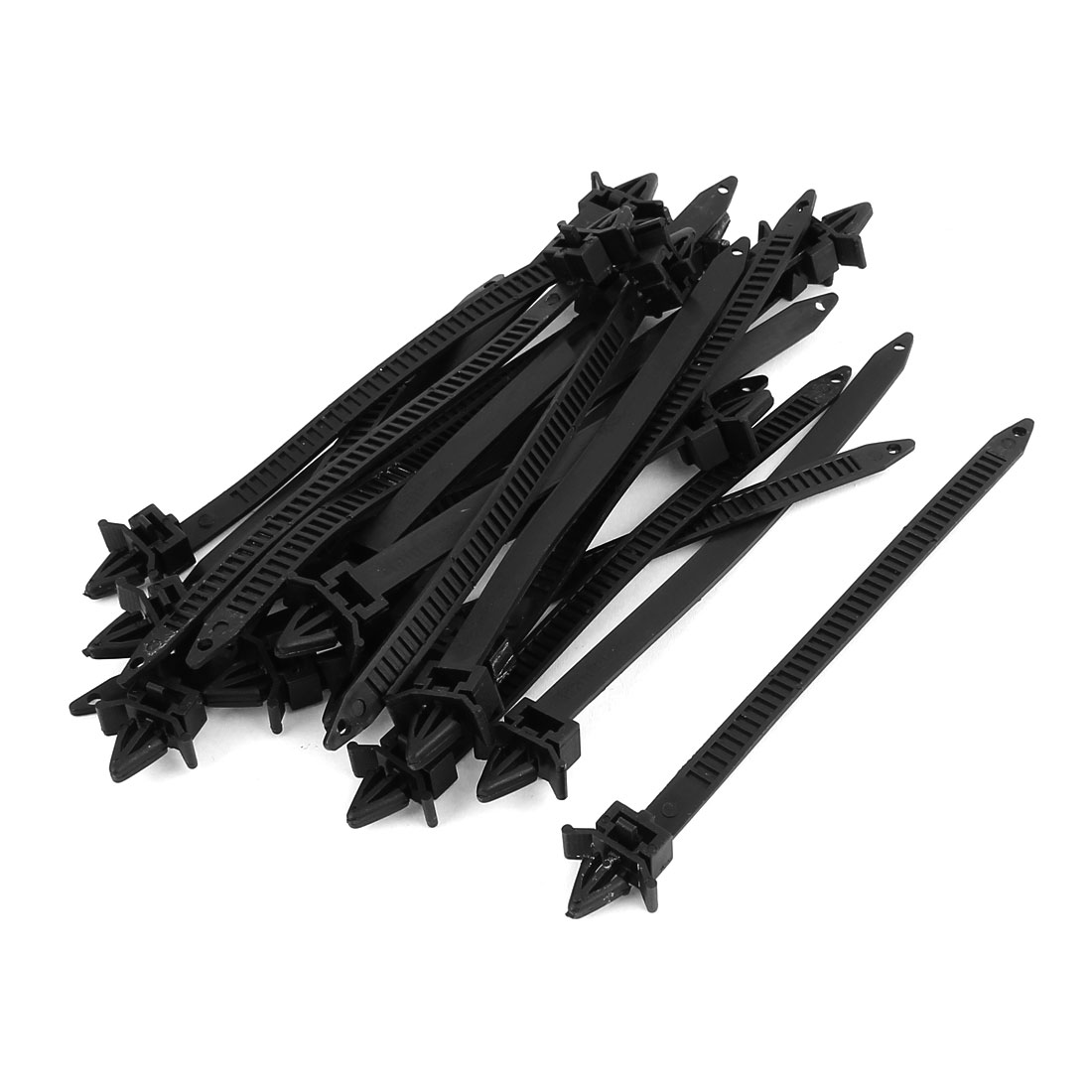 8mm x 150mm Black Nylon Winged End Push Mount Electrical Cable Ties 20 Pcs