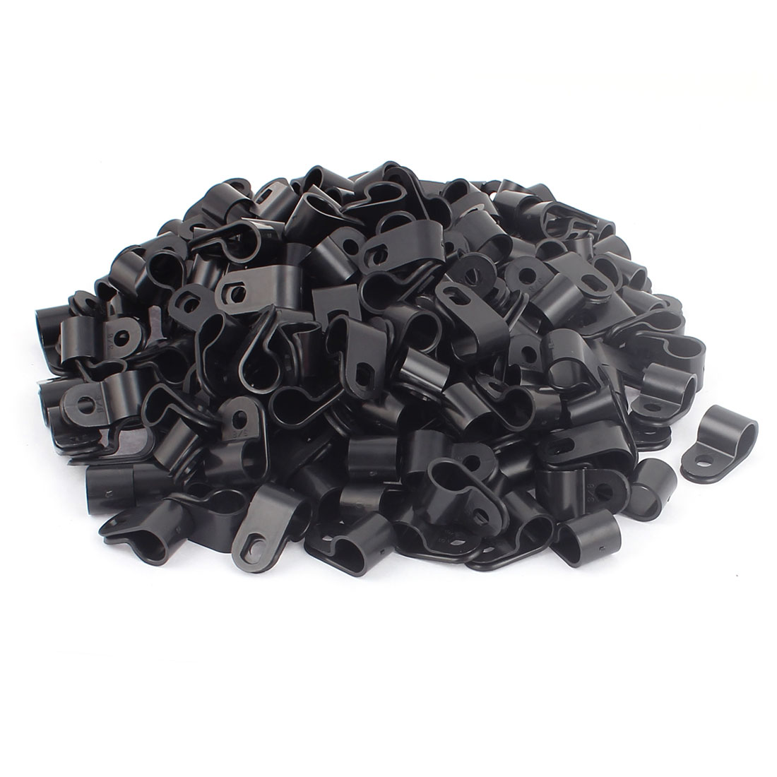 200Pcs Black Plastic R Type Cable Clip Clamp for 9mm Dia Wire Hose Tube