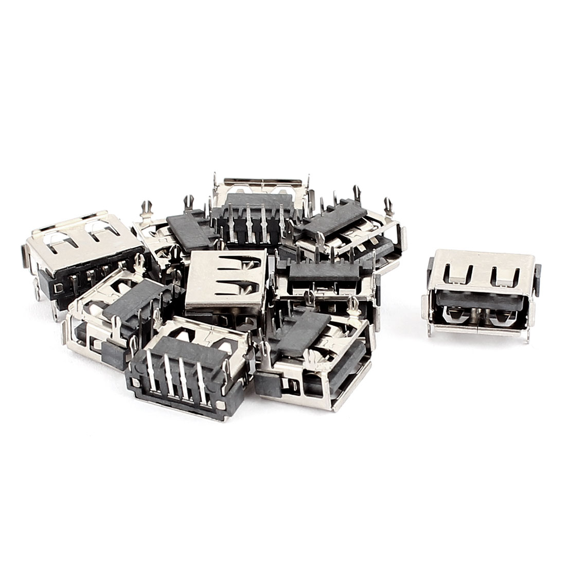 10 Pcs Type A USB 2.0 4 Right Angle Pin Female Jacks Connectors for PCB