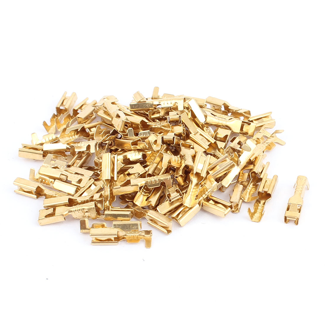 80 Pcs Gold Tone 15mm Length Female Spade Crimp Terminal Connectors