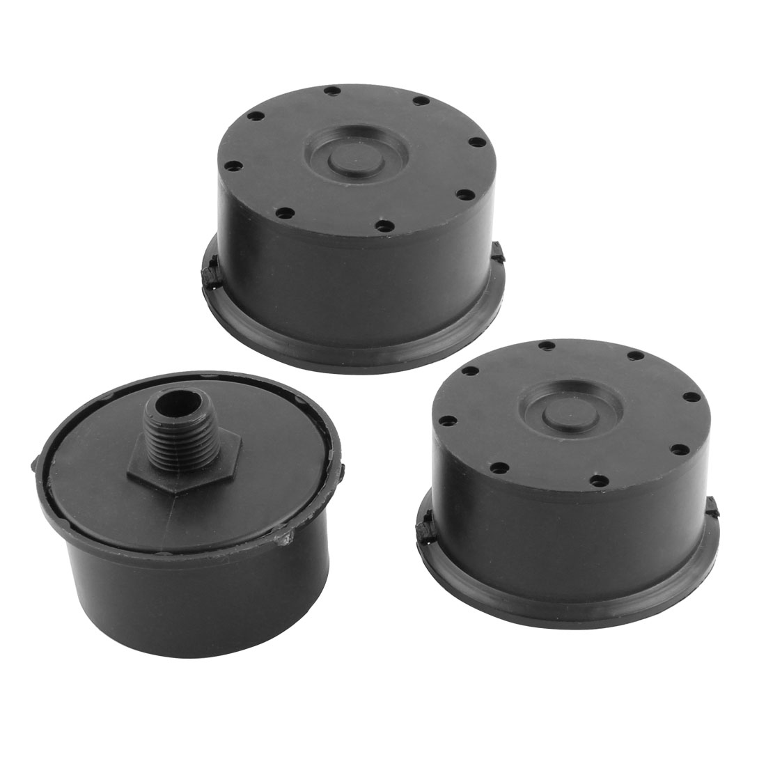 3/8BSP 16mm Thread Diameter Black Admitting Port Air Compressor Intake Filter Silencer Muffler 3pcs