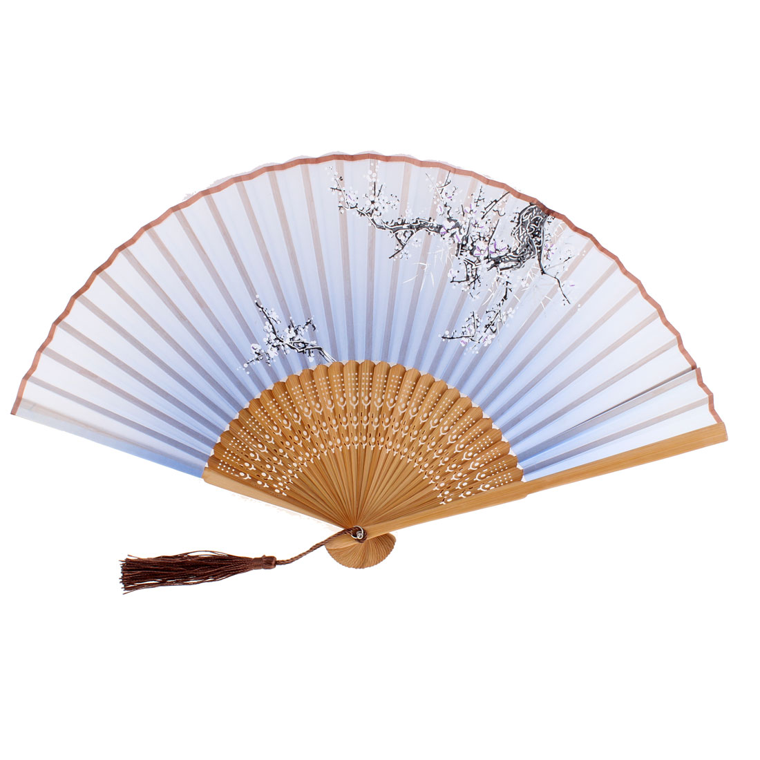 Lady Plum Blossom Pattern Dance Wedding Party Folding Hand Fan Sky Blue