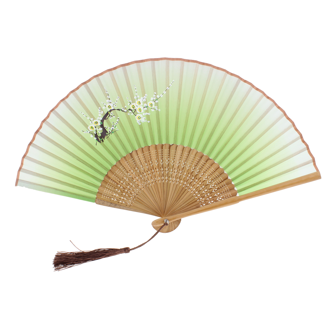 Lady Plum Blossom Pattern Dance Wedding Party Folding Hand Fan Green
