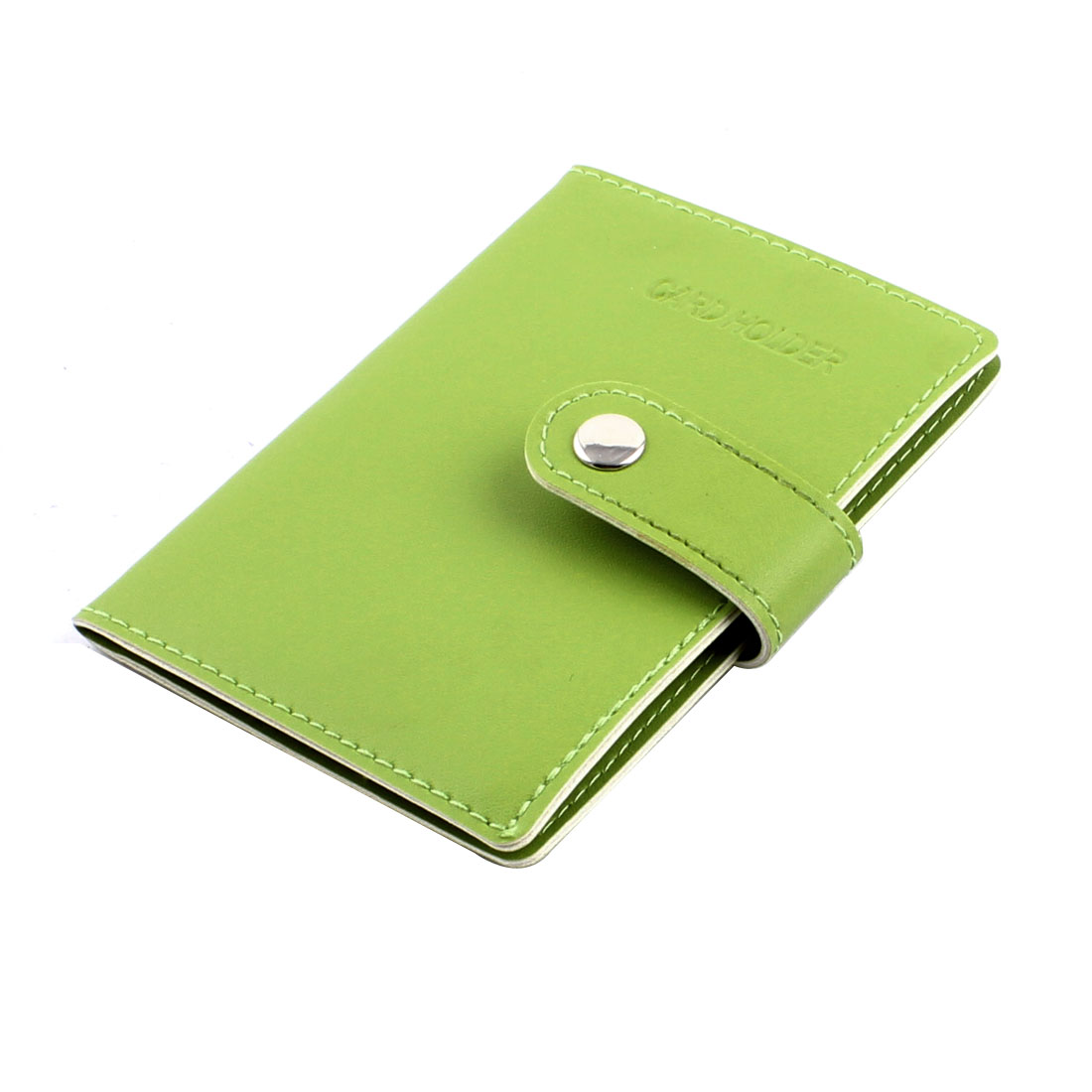 Faux Leather Single Press Stud Button 20 Sheets ID Bank VIP Post Card Holder Green