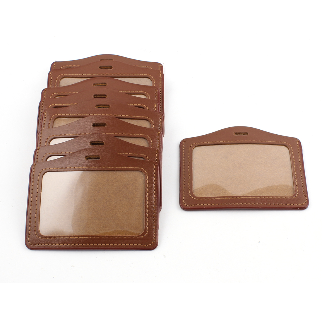 10pcs Brown Faux Leather Office Horizontal Business ID Badge Card Holder