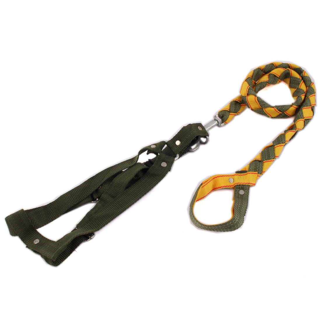 Pet Dog Puppy Walking Adjustable Harness Collar Strap Lead Leash Rope Army Green