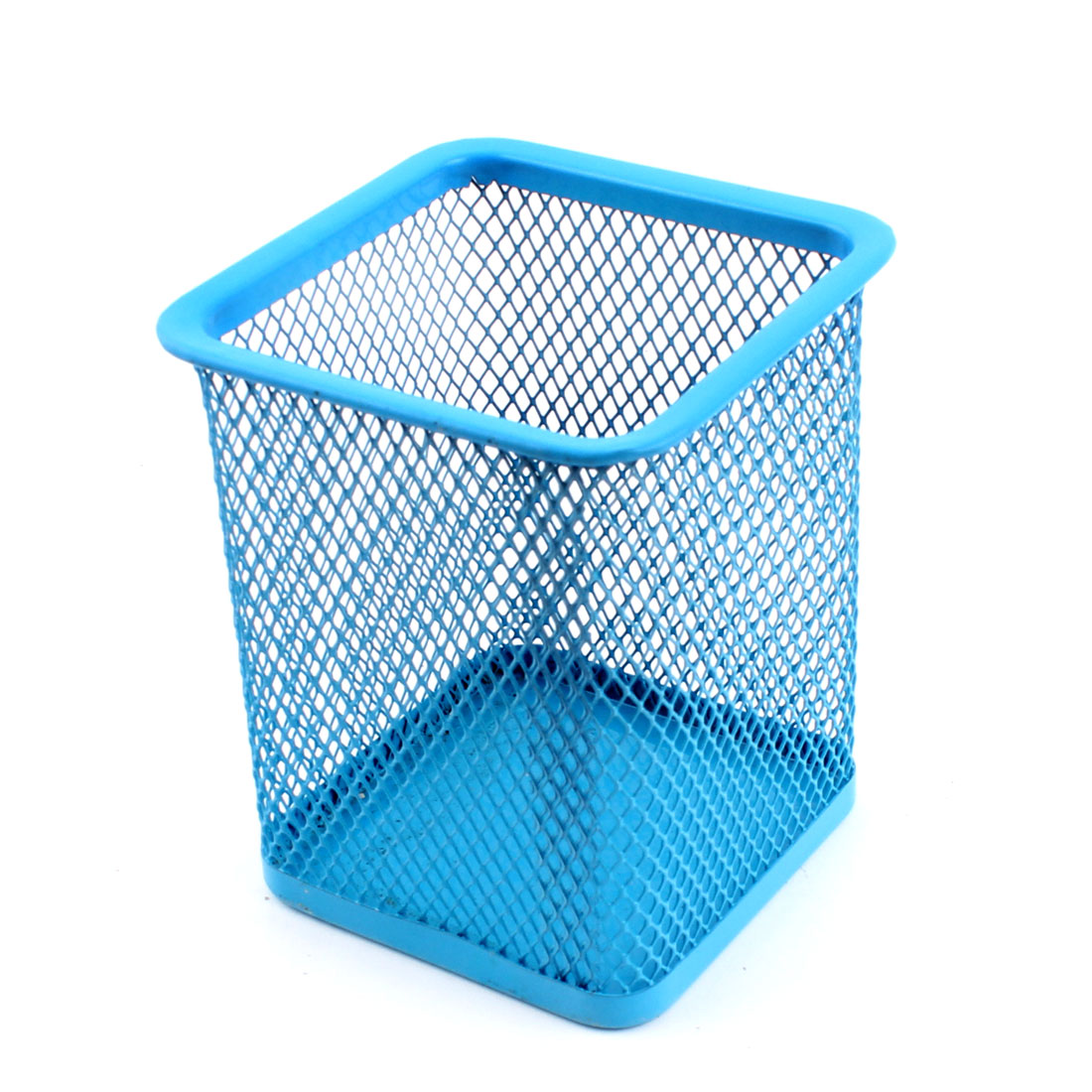 Metal Mesh Square Office Desk Pen Pencil Storage Holder Container Organizer Blue