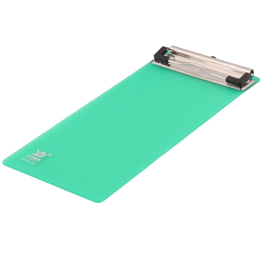 Transparent Green Plastic Mini A6 Size Paper Letter Clip Board Clipboard 230mm x 102mm