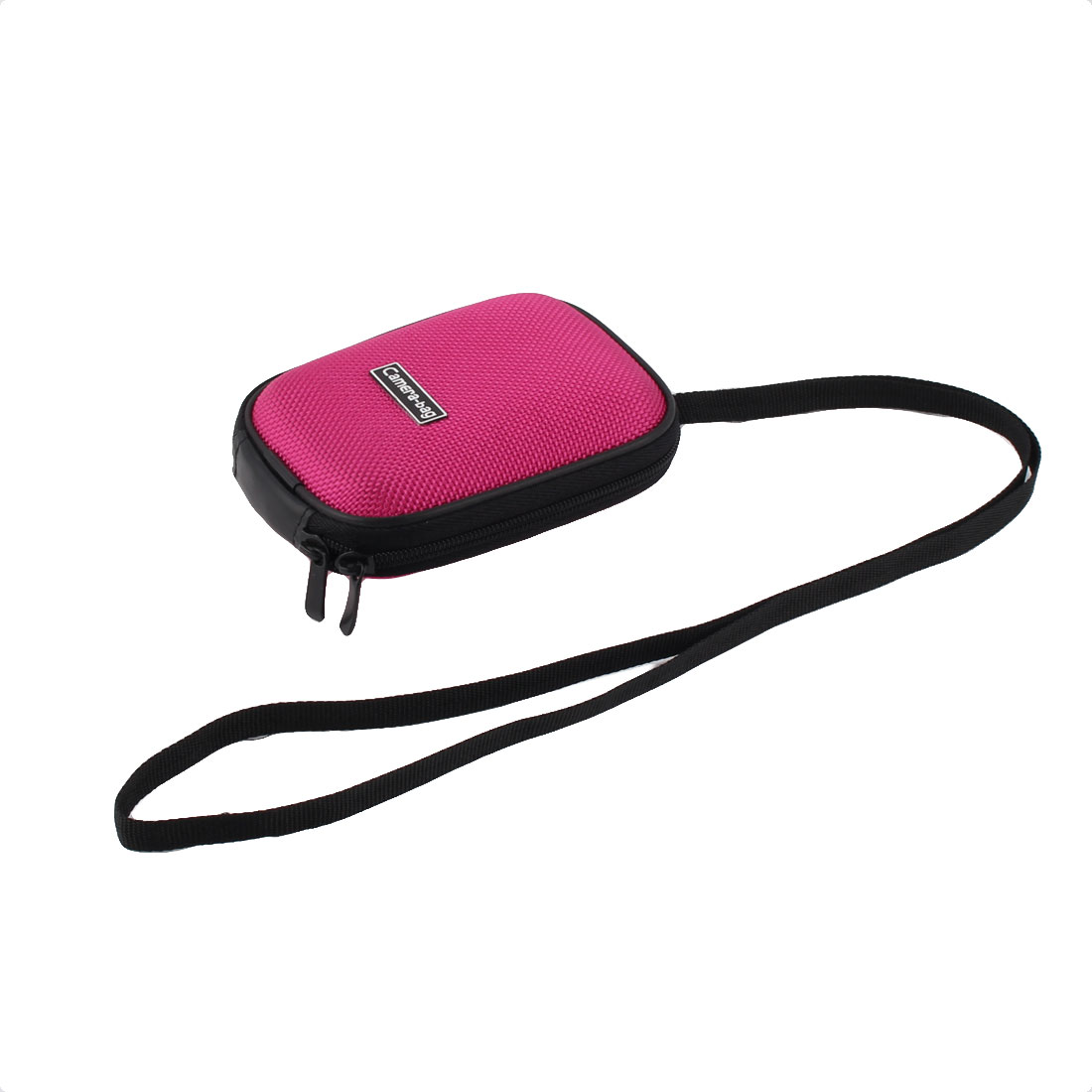 "Mini Zipper Closure Digital Camera Case Bag Pouch Protector Fuchsia 5"" Length"