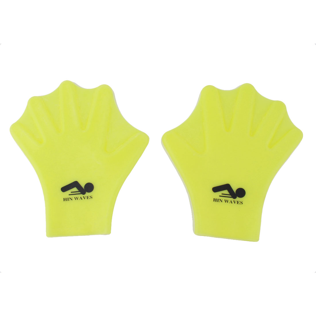Silicone Webbed Watersport Swimming Training Surfing Gloves Paddles Yellow Pair