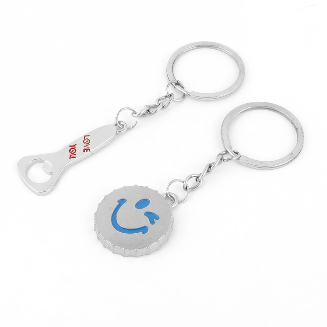 Metal Beer Cap Bottle Opener Shaped Pendant Couple Keychain Key Ring Holder Pair