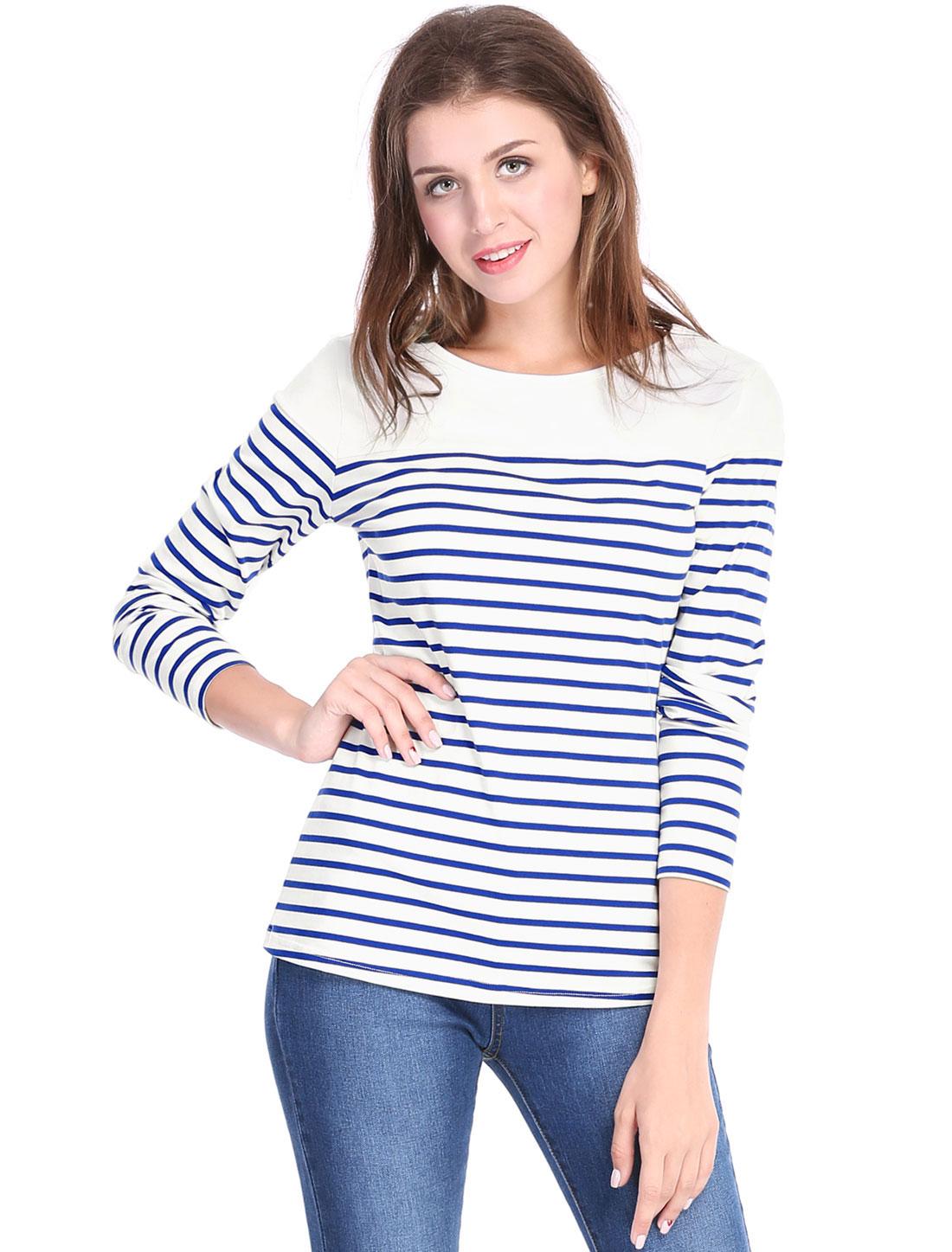 Allegra K Women Classic Striped Round Neck Long Sleeves Stretch T-Shirt Blue S
