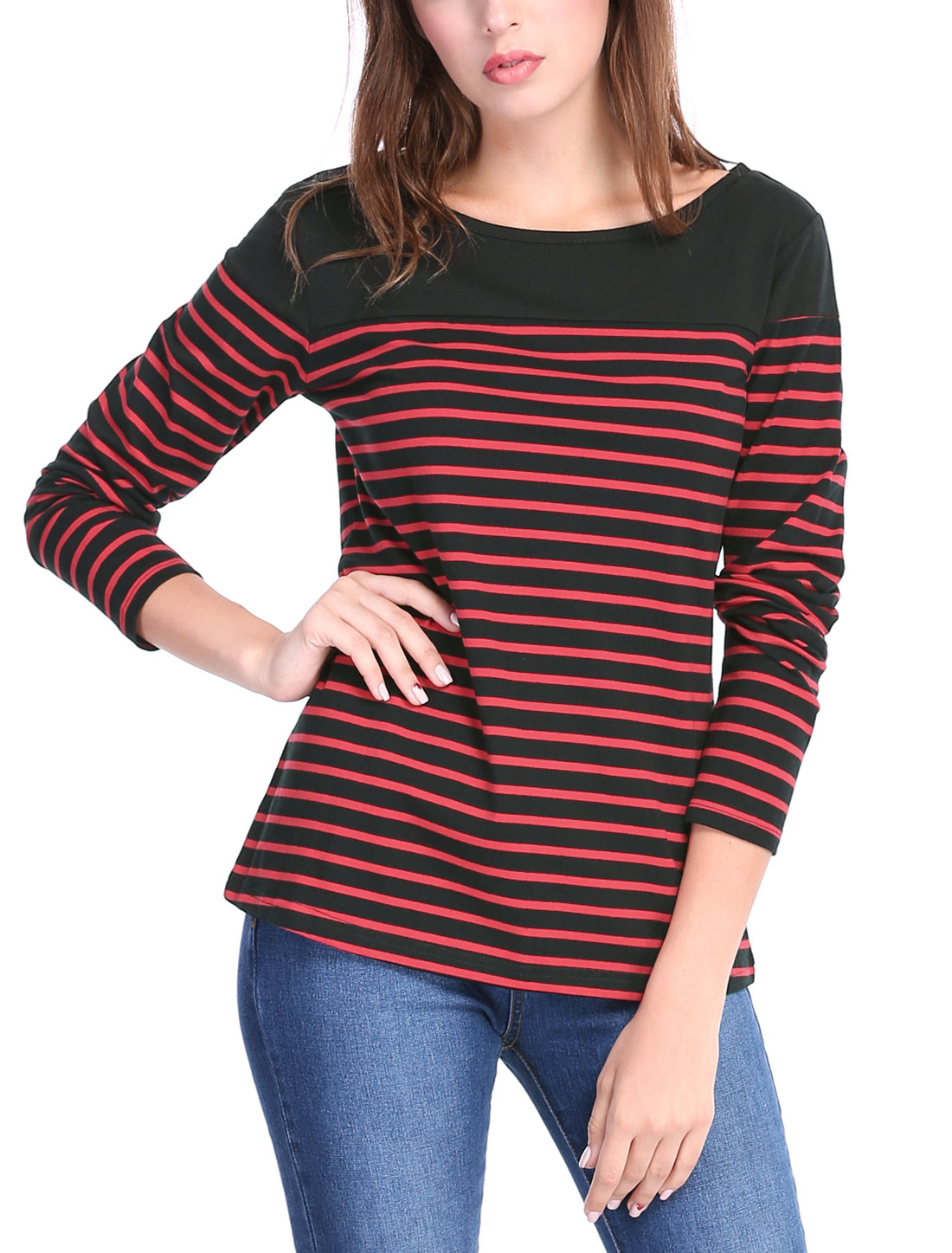 Allegra K Women Classic Striped Long Sleeves Stretch T-Shirt Black Red M