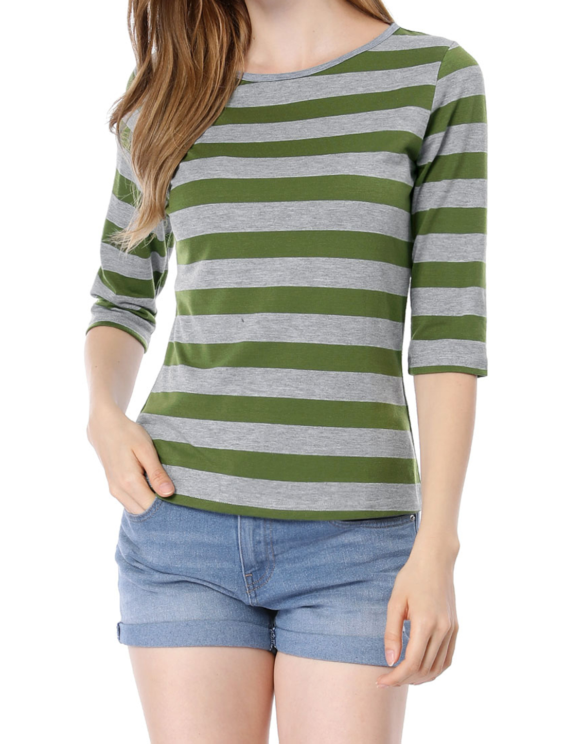 Women 1/2 Sleeves Contrast Color Stripes T-shirt Green Gray L