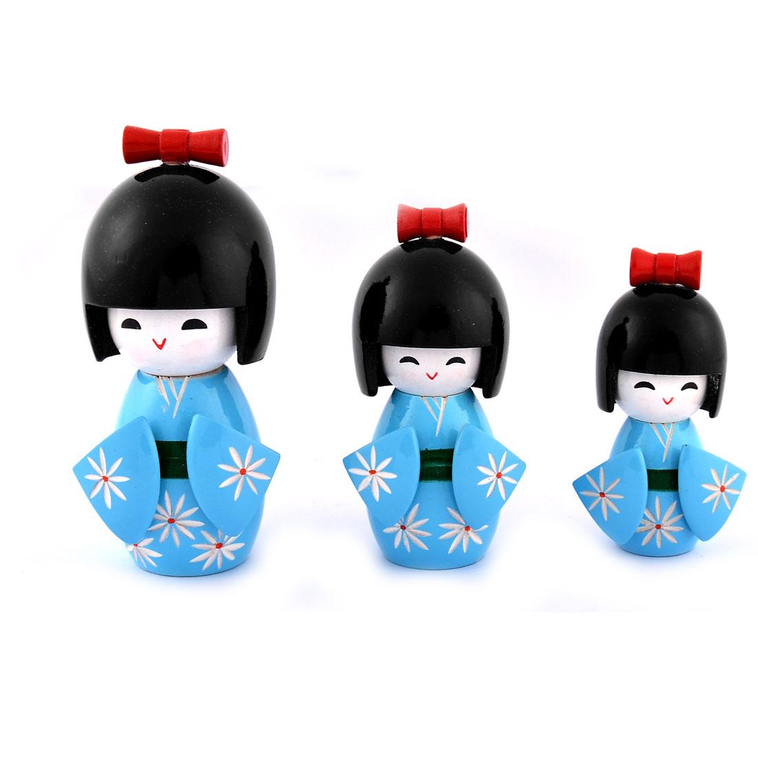 Home Wooden Japanese Kimono Active Kokeshi Doll Status Ornament Blue Set
