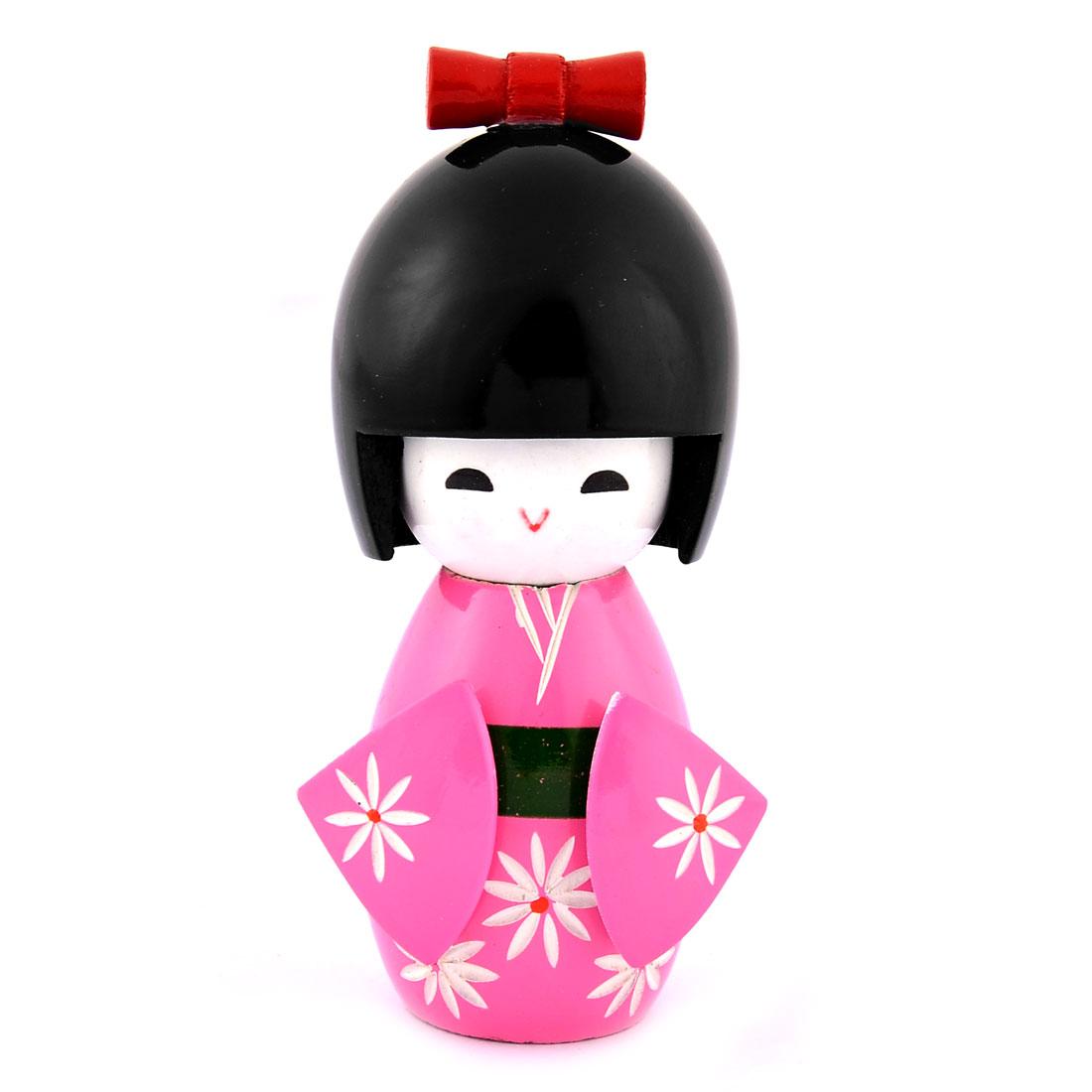 Home Wooden Flower Pattern Kimono Decorative Girl Japanese Kokeshi Doll Pink