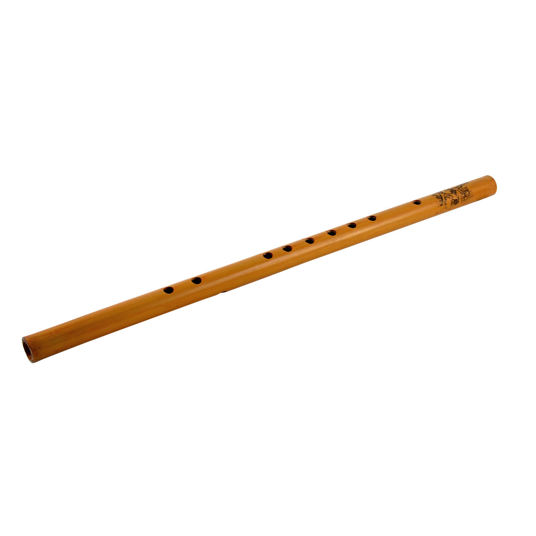 Musicians Flower Print Chinese Traditional Bamboo Flute Musical Instrument Brown
