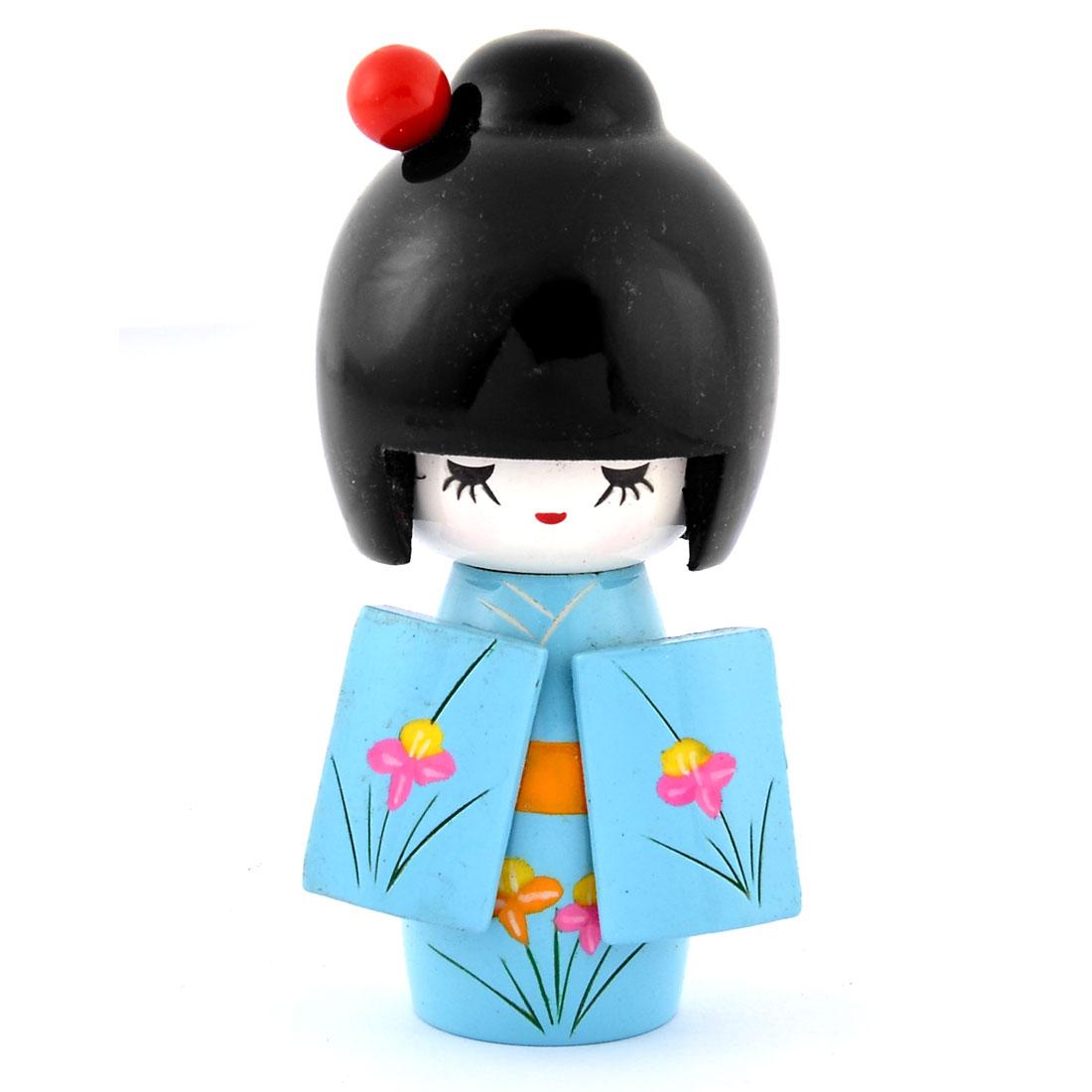 Home Wooden Floral Printed Kimono Decorative Girl Japanese Kokeshi Doll Blue