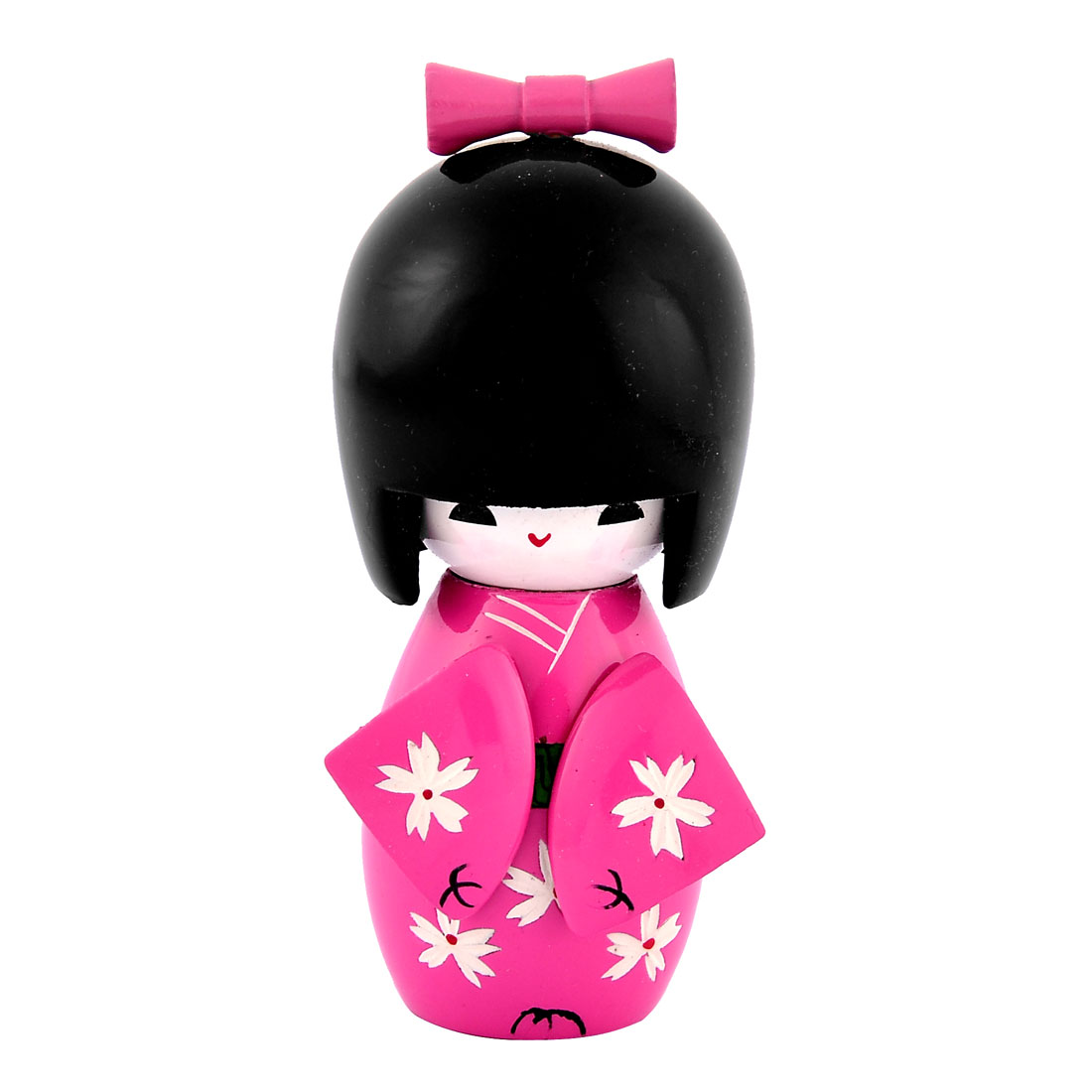 Home Flower Engraved Wooden Kimono Decorative Doll Japanese Kokeshi Pink