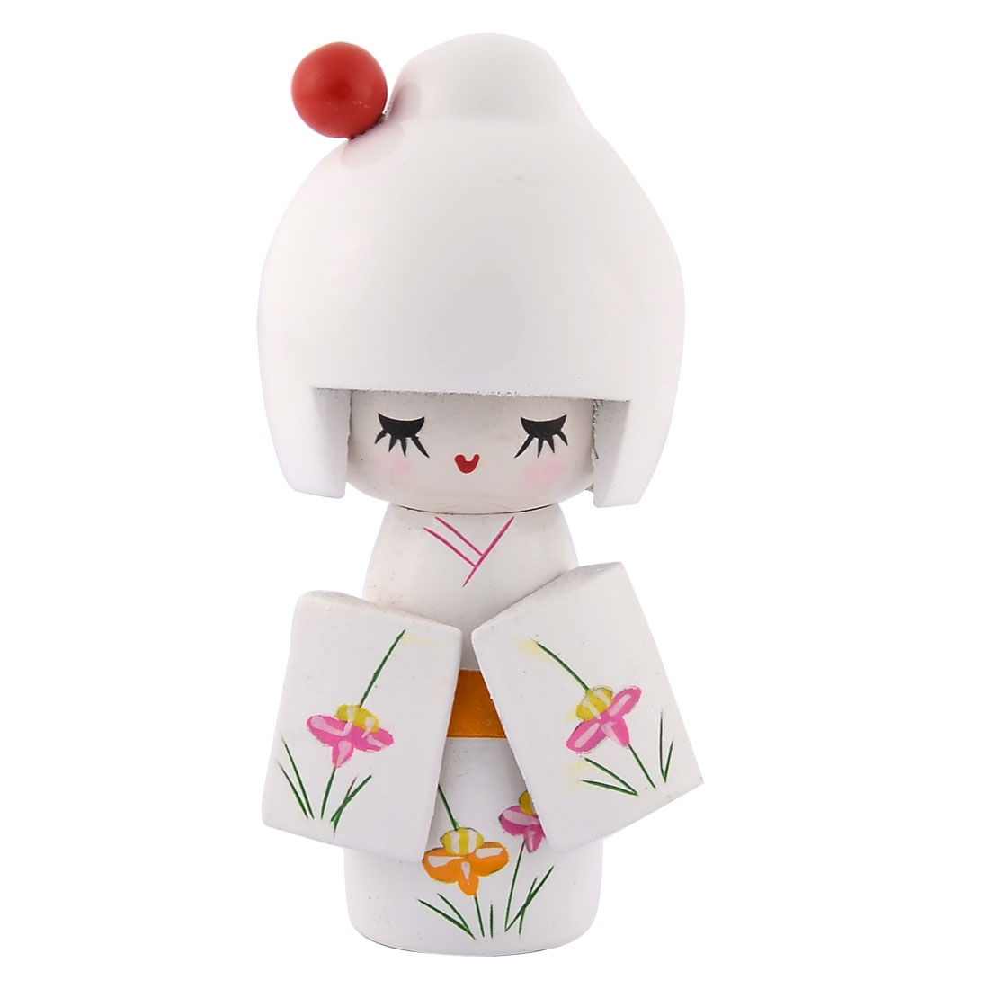 Present Gift Wooden Flower Print Smiling Japanese Girl Kimono Kokeshi Doll White