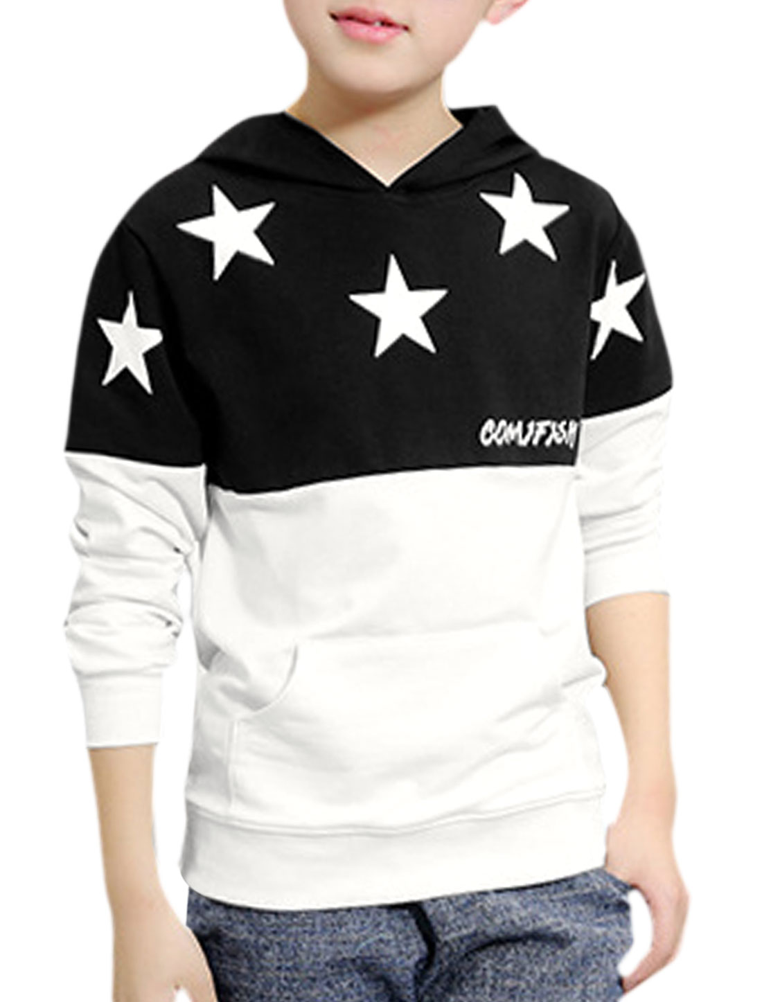 Boys Lettes Stars Color Block Hooded Sweatshirt White 16