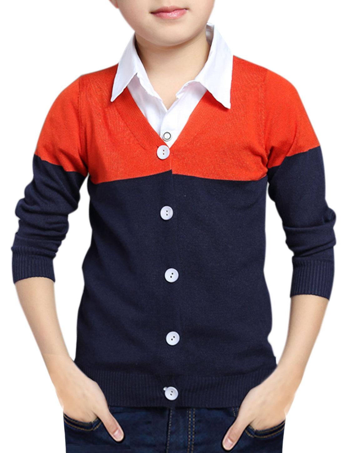 Boys Color Block Slim Fit Knit Cardigan Red Gray 7X