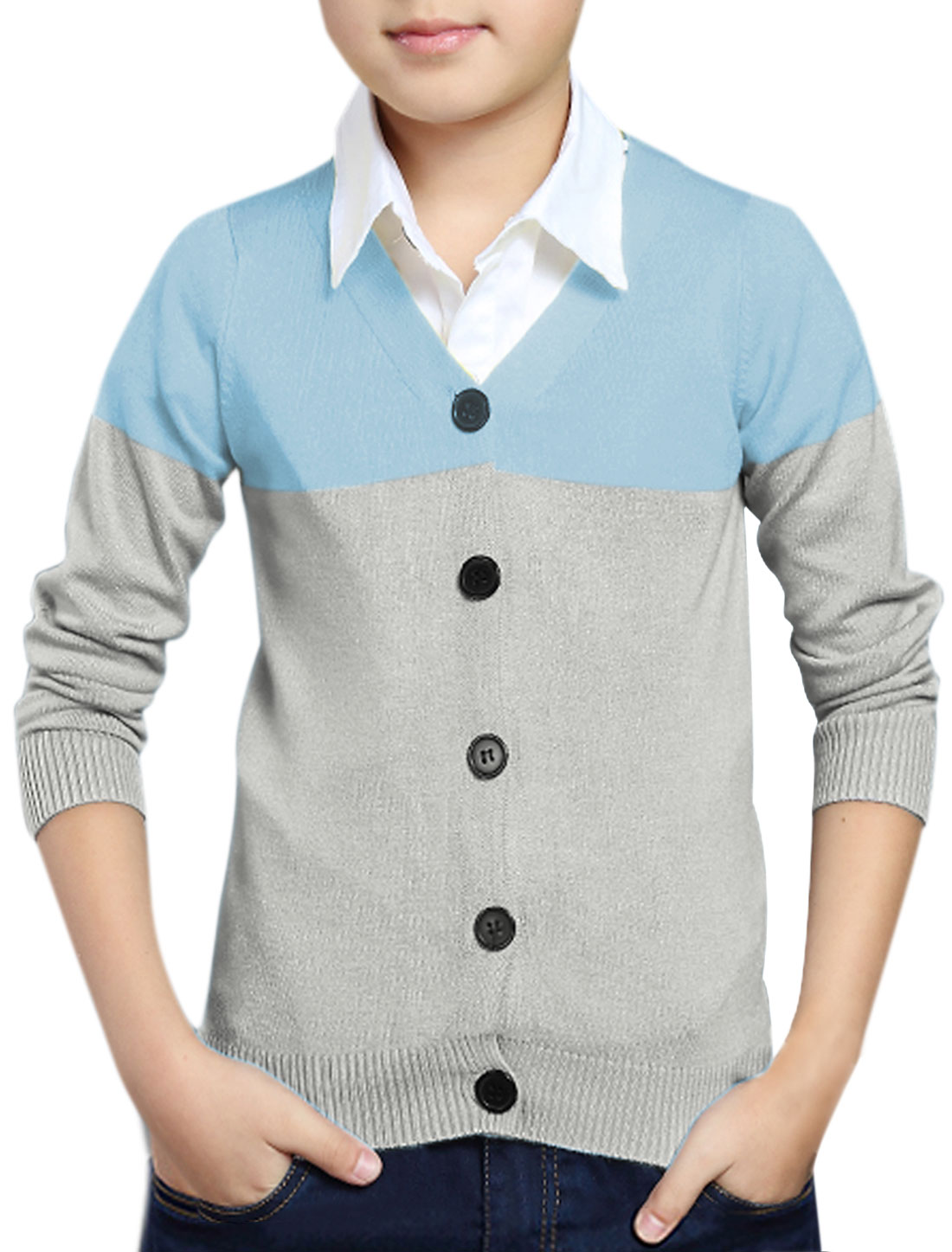 Boys Color Block Slim Fit Knit Cardigan Blue Gray 12