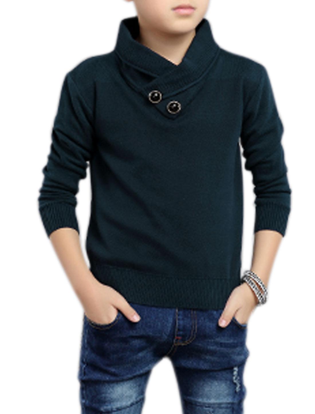 Boys Shawl Collar Buttons Decor Knit Shirt Blue 8