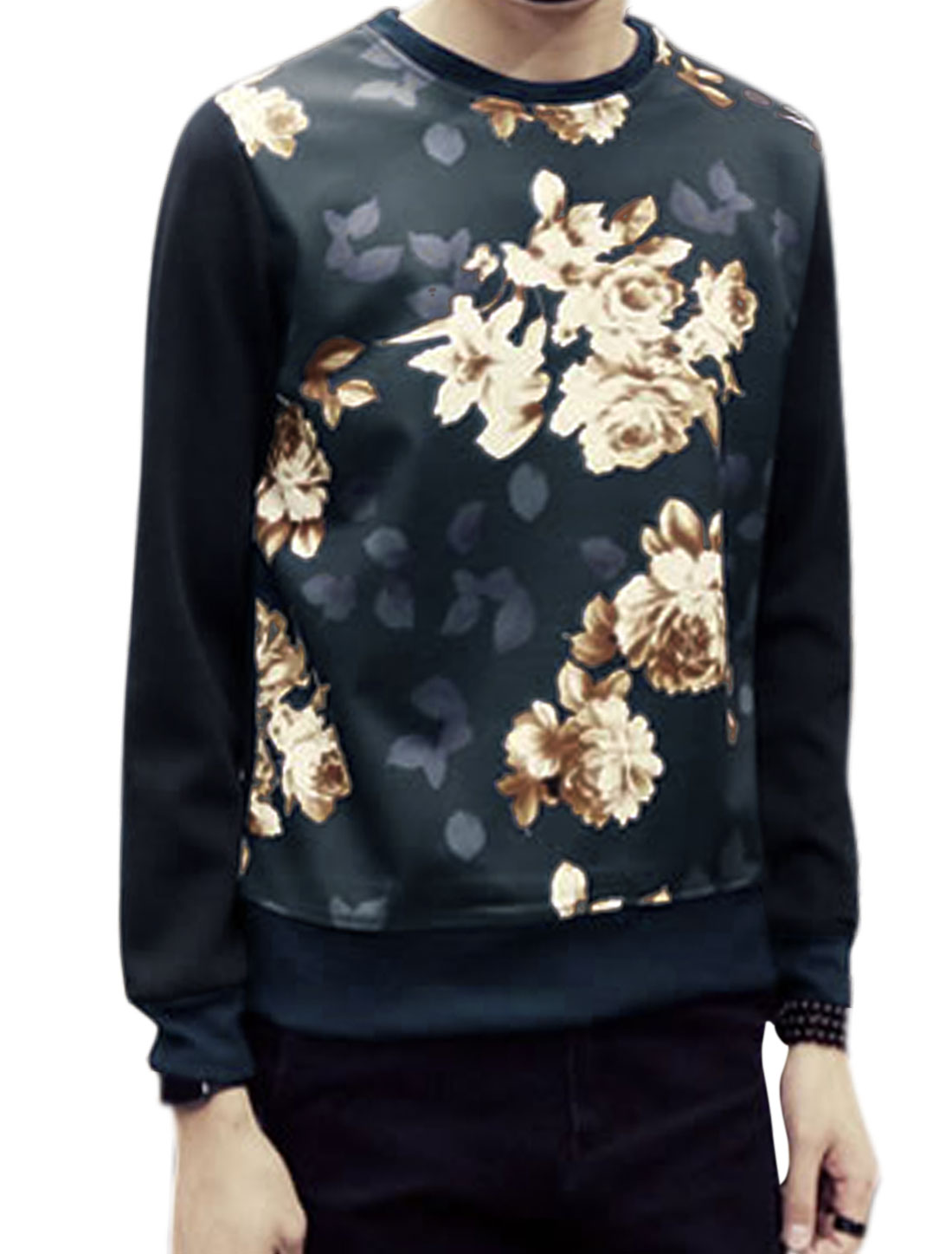 Man Crew Neck Long Sleeves Flower Sweatshirt Blue M