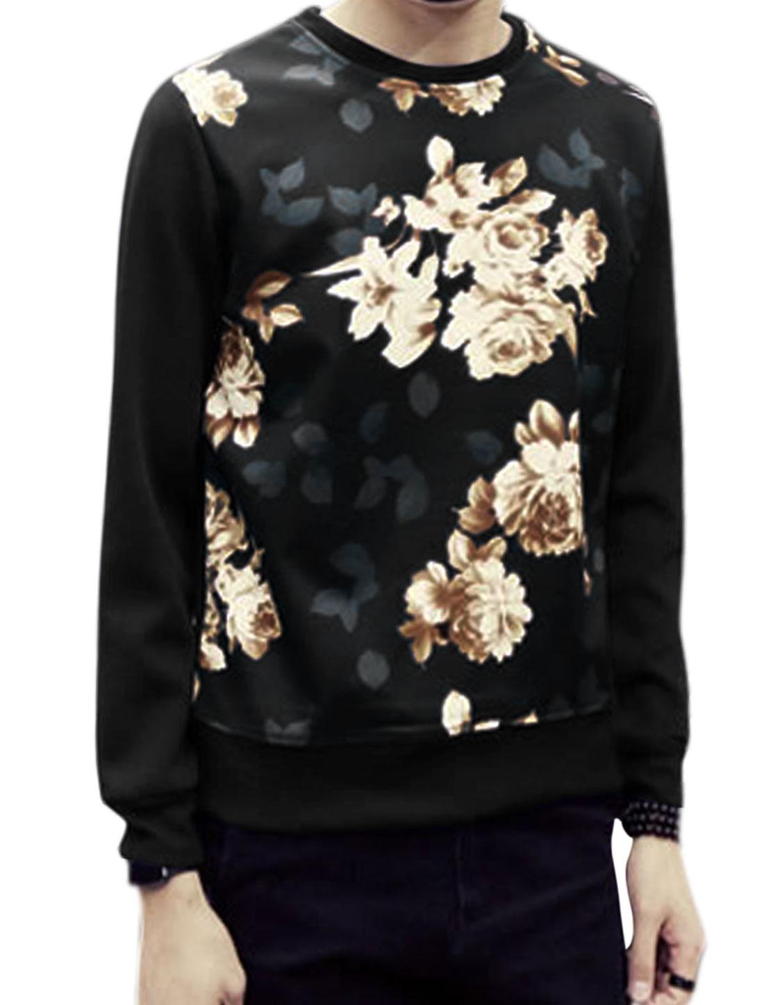 Men Crew Neck Long Sleeves Floral Prints Sweatshirt Black S