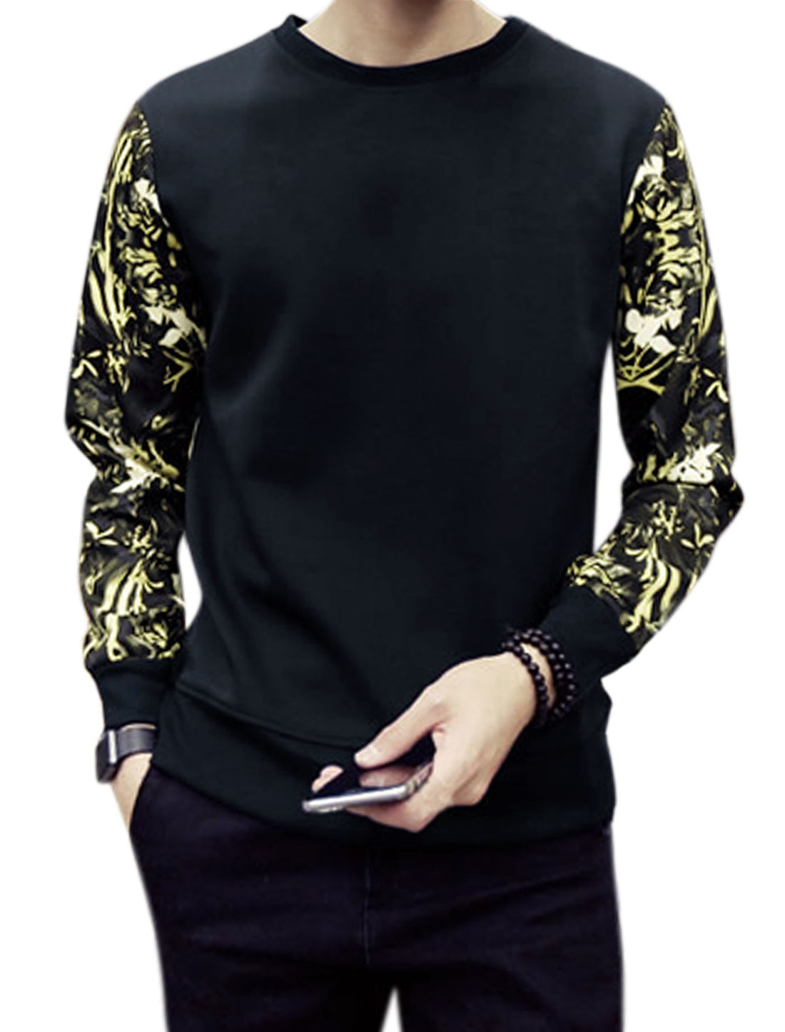 Man Long Sleeves Crew Neck Flower Prints Casual Sweatshirt Blue M
