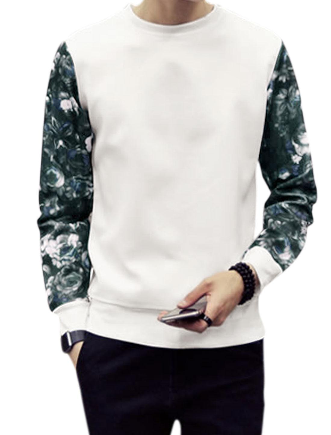 Man Long Sleeves Crew Neck Flower Prints Casual Sweatshirt White M