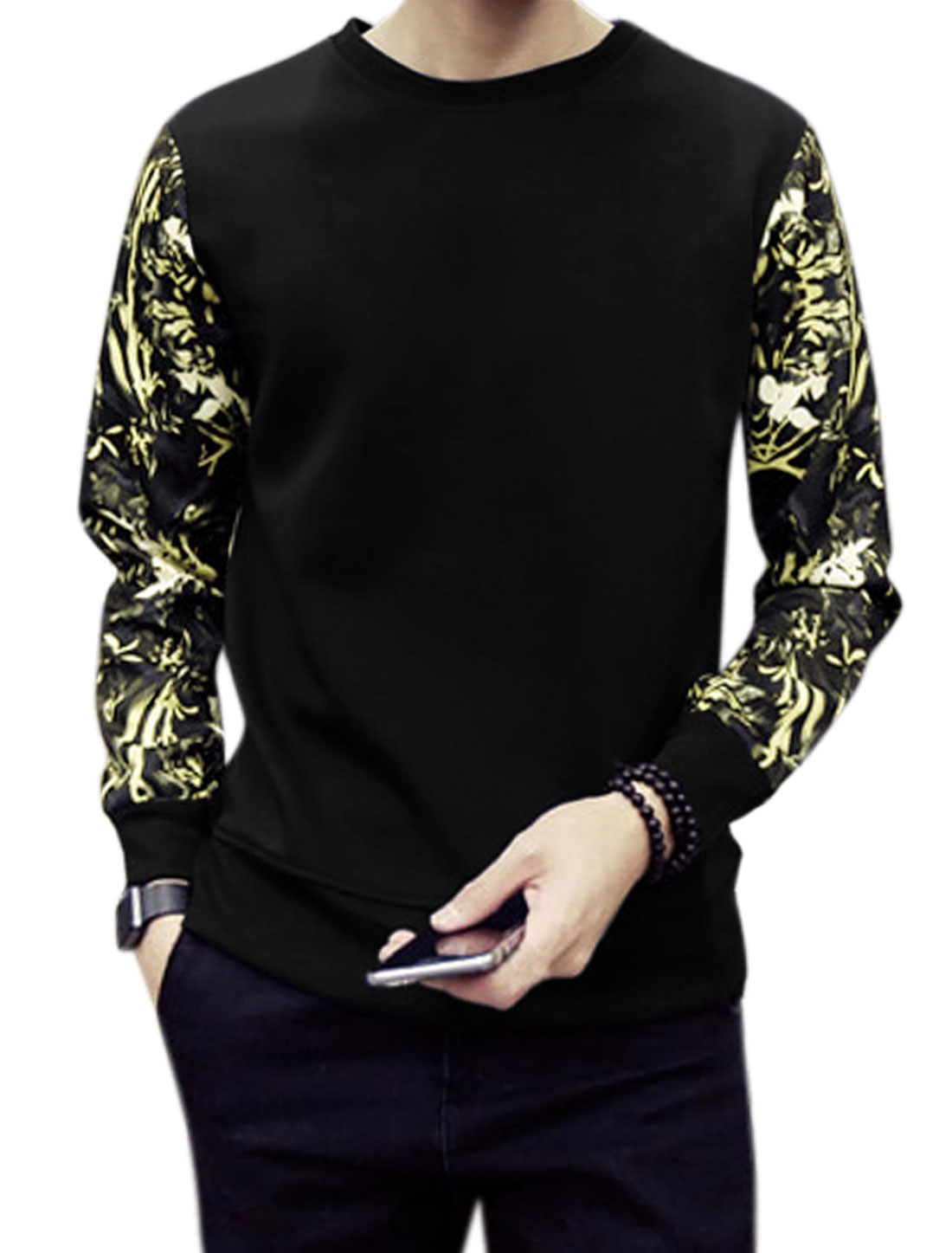 Men Long Sleeves Crew Neck Floral Prints Slim Fit Sweatshirt Black S