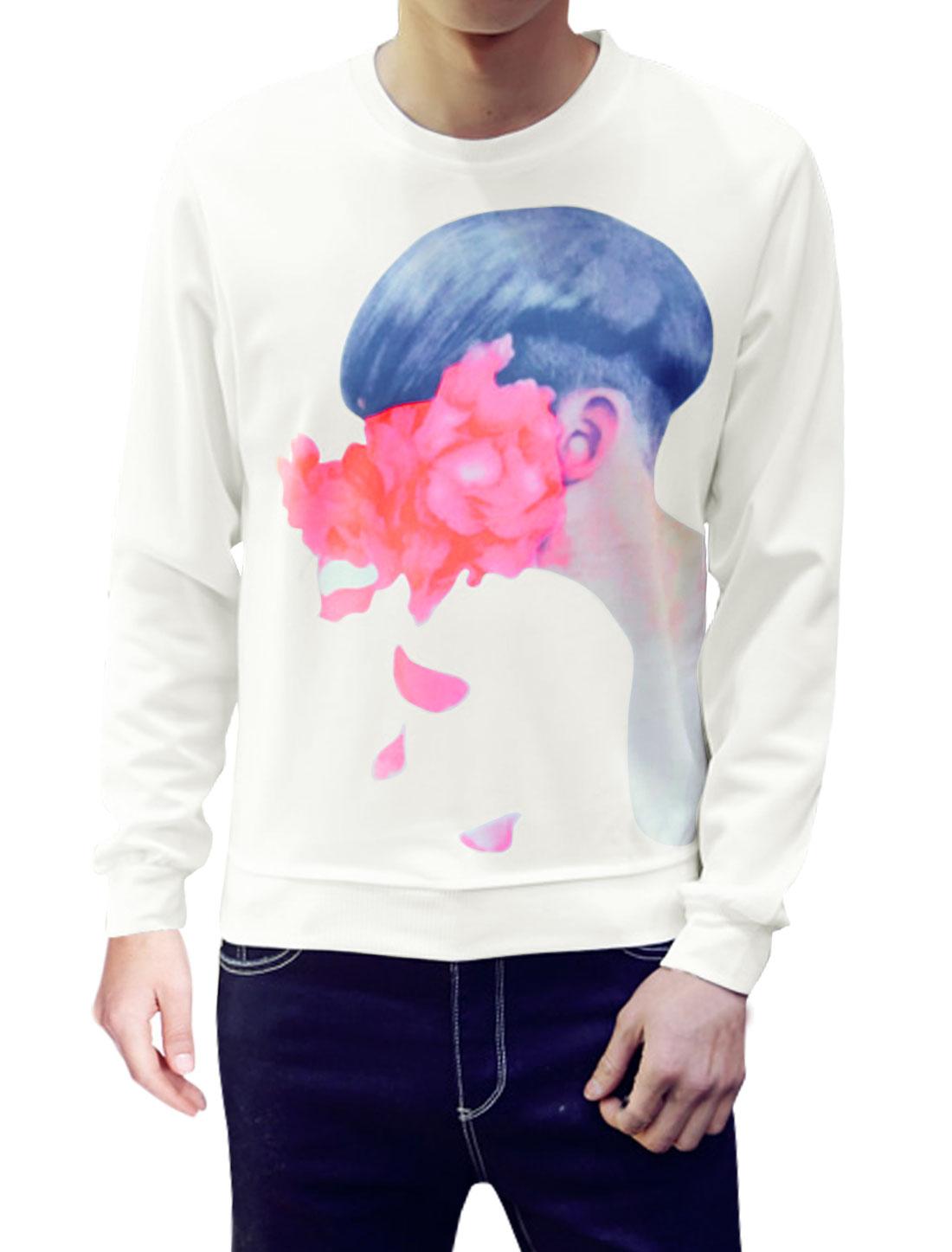 Man Round Neck Long Sleeves Human Flower Sweatshirt White M