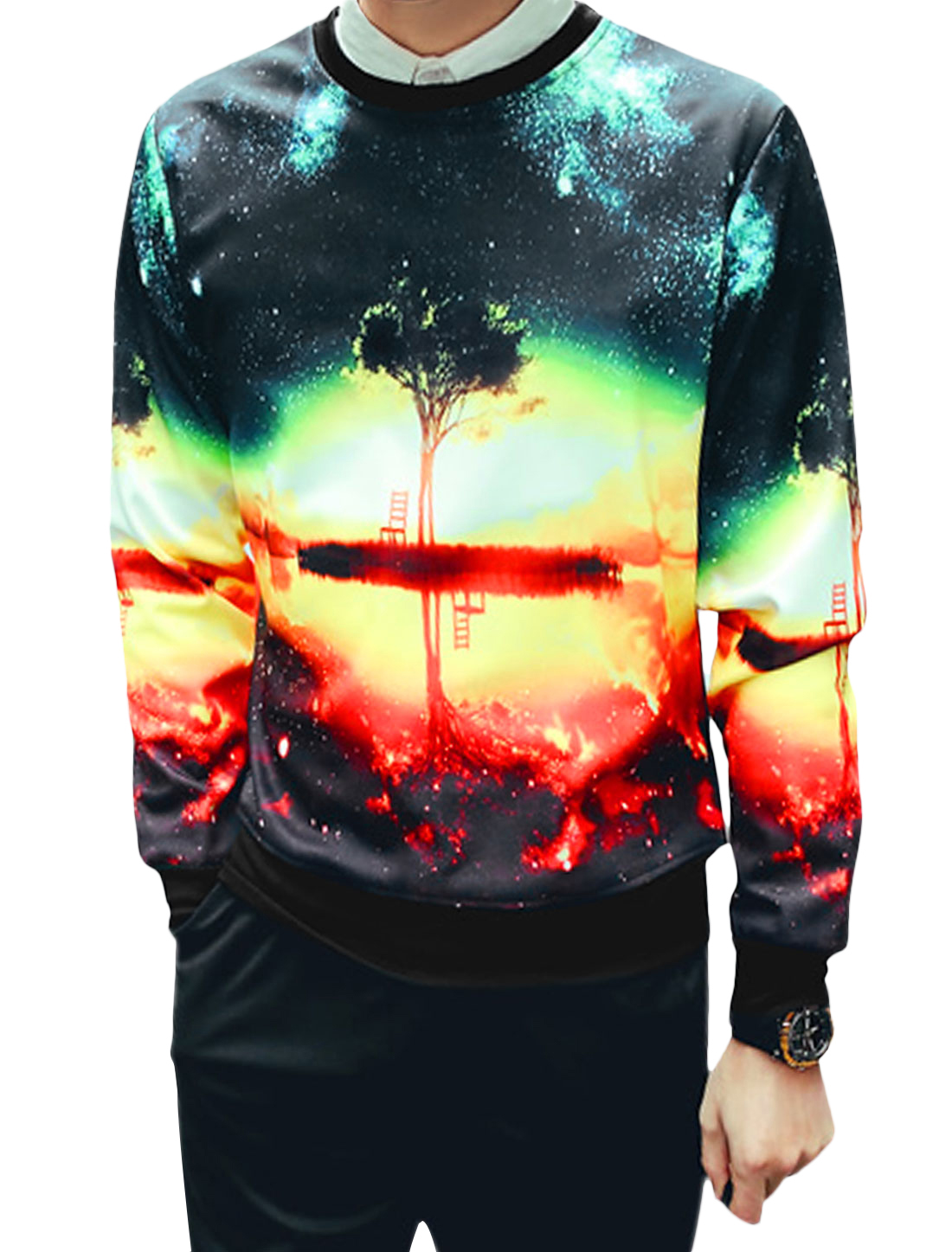 Men Crew Neck Galaxy Landscape Prints Sweatshirt Black L
