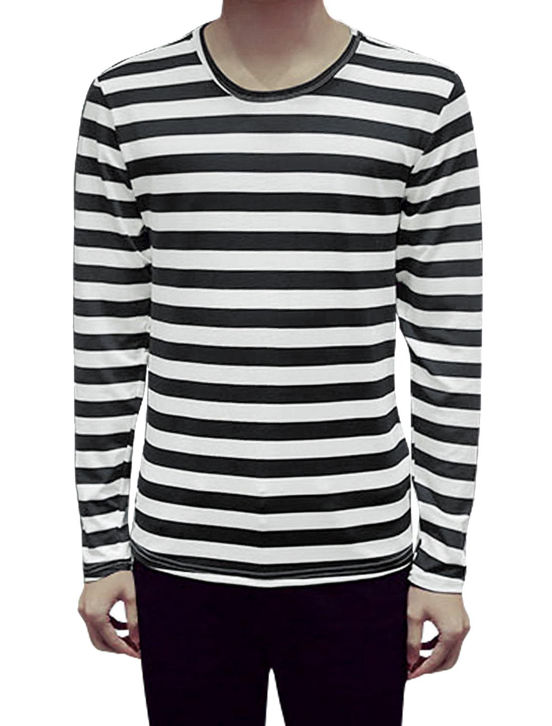 Man Long Sleeves Round Neck Stripes Slim Fit T-Shirt Black M