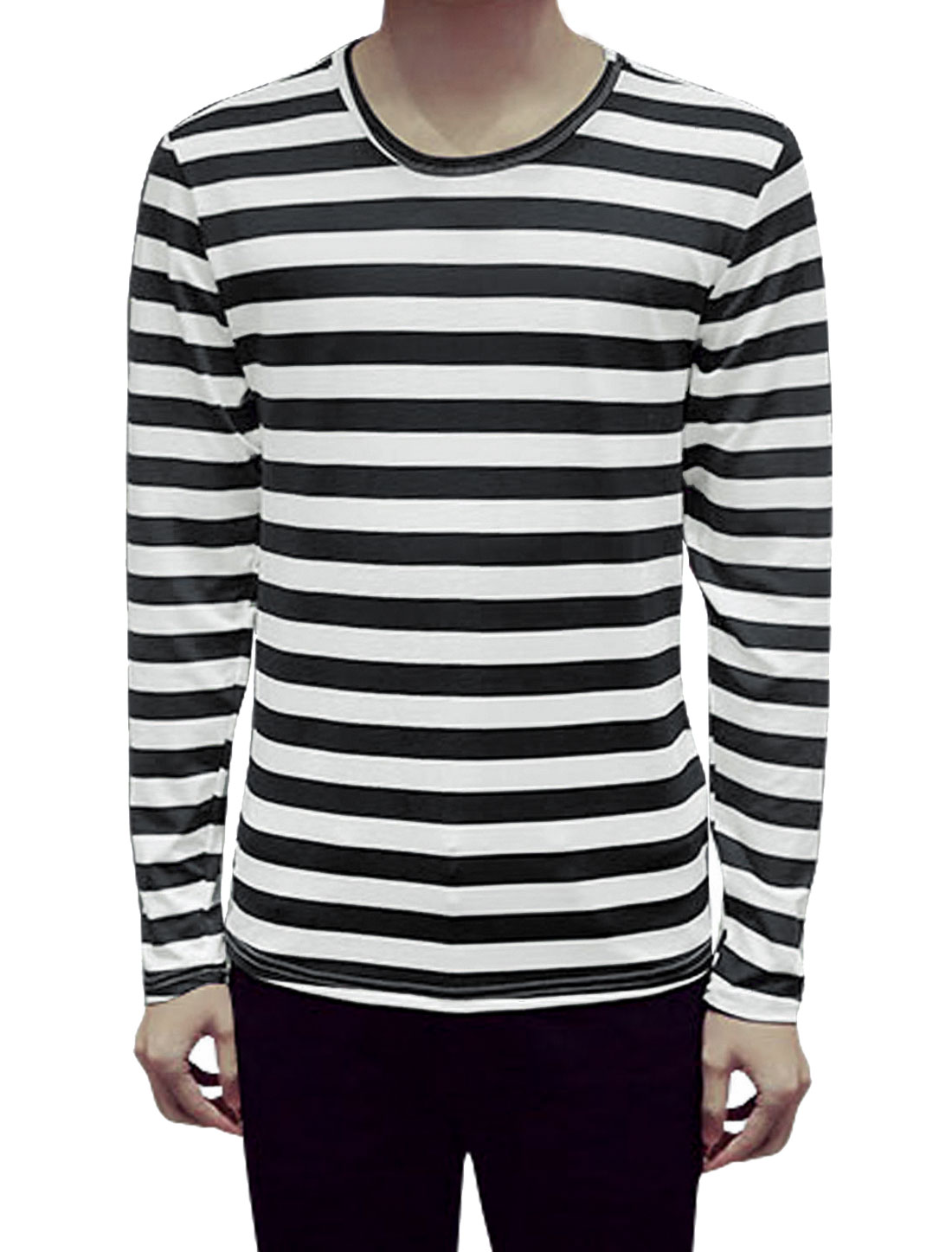 Men Long Sleeves Round Neck Stripes Slim Fit Tee Shirt Black L