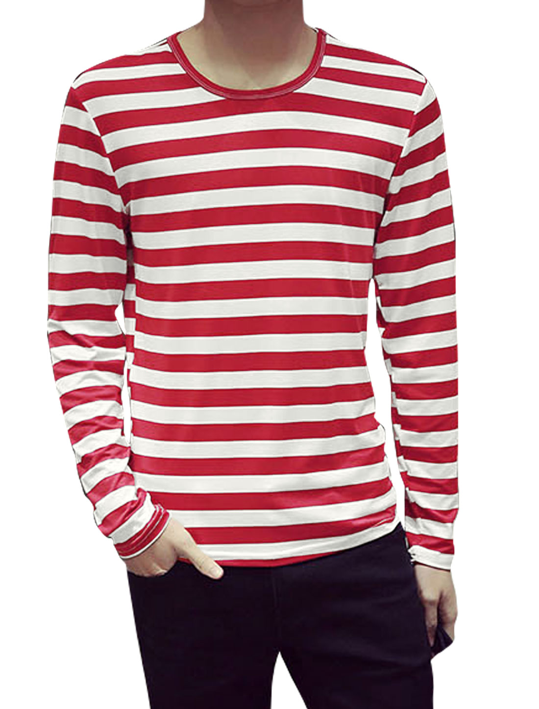 Men Long Sleeves Round Neck Stripes Slim Fit Tee Shirt Red L