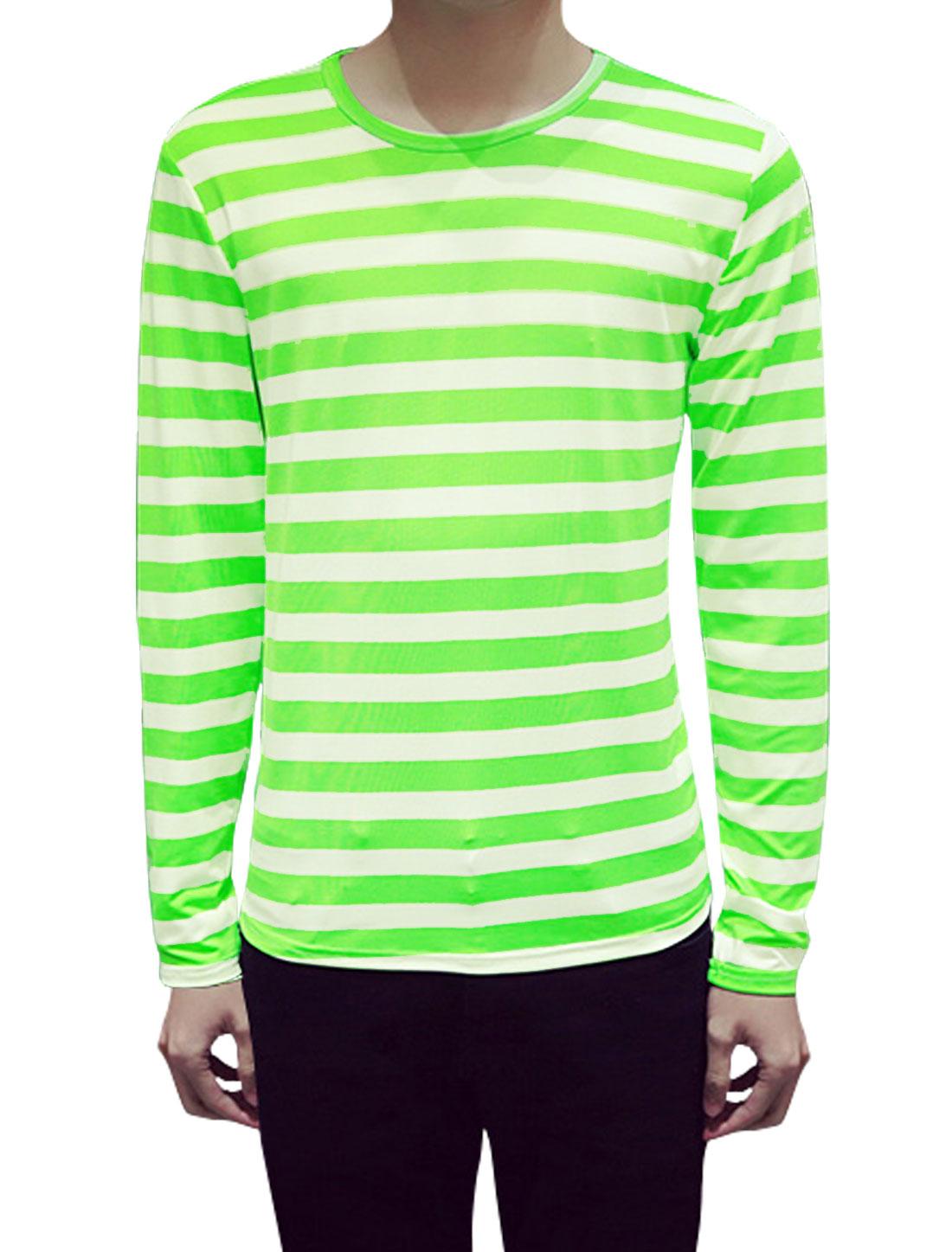 Men Long Sleeves Round Neck Stripes Slim Fit Tee Shirt Green L