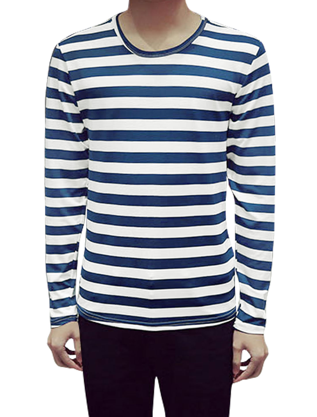 Men Long Sleeves Round Neck Stripes Slim Fit Tee Shirt Blue L