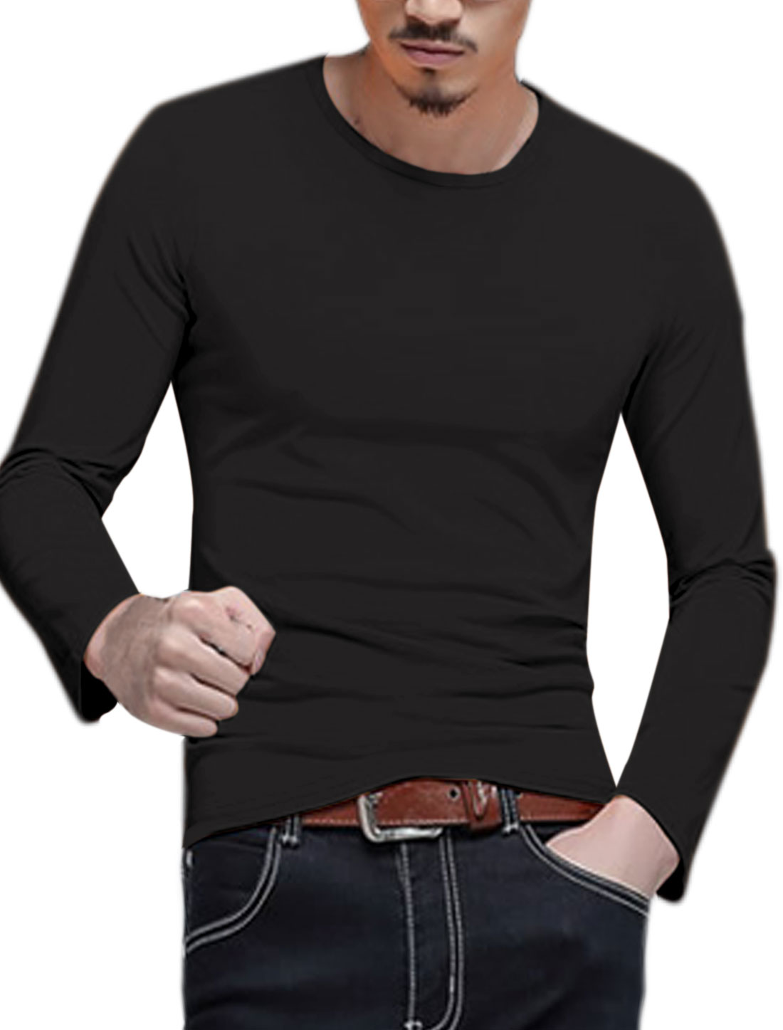 Man Long Sleeves Crew Neck Slim Fit T-Shirt Black M