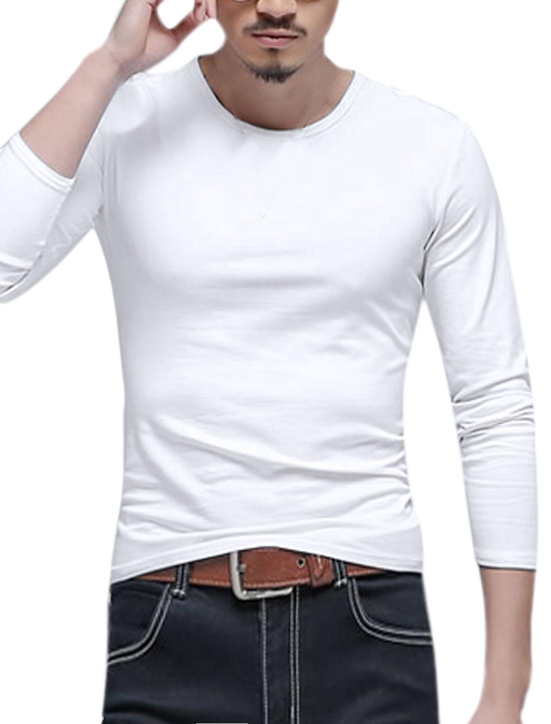 Men Long Sleeves Crew Neck Slim Fit Tee Shirt White M