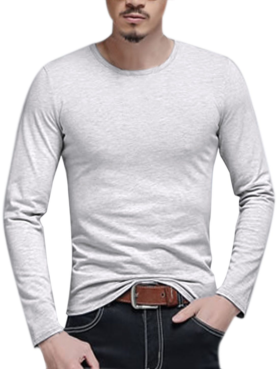 Men Long Sleeves Crew Neck Slim Fit Tee Shirt Gray M