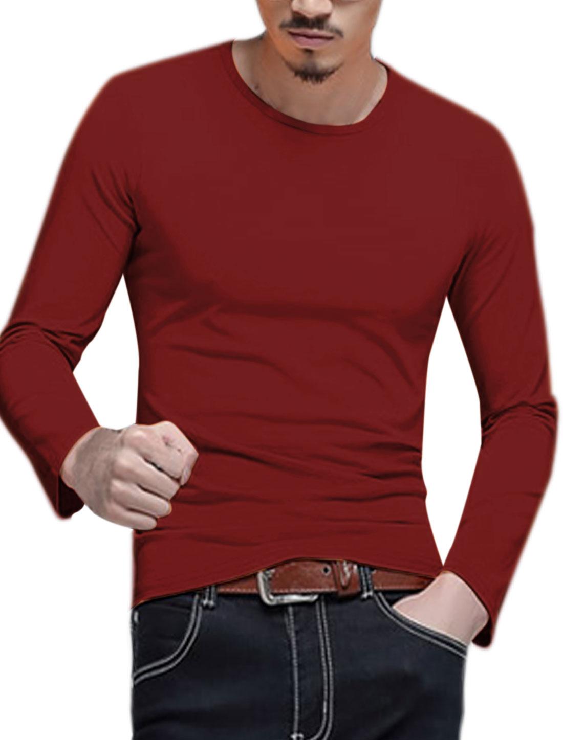 Men Long Sleeves Crew Neck Slim Fit Tee Shirt Red M