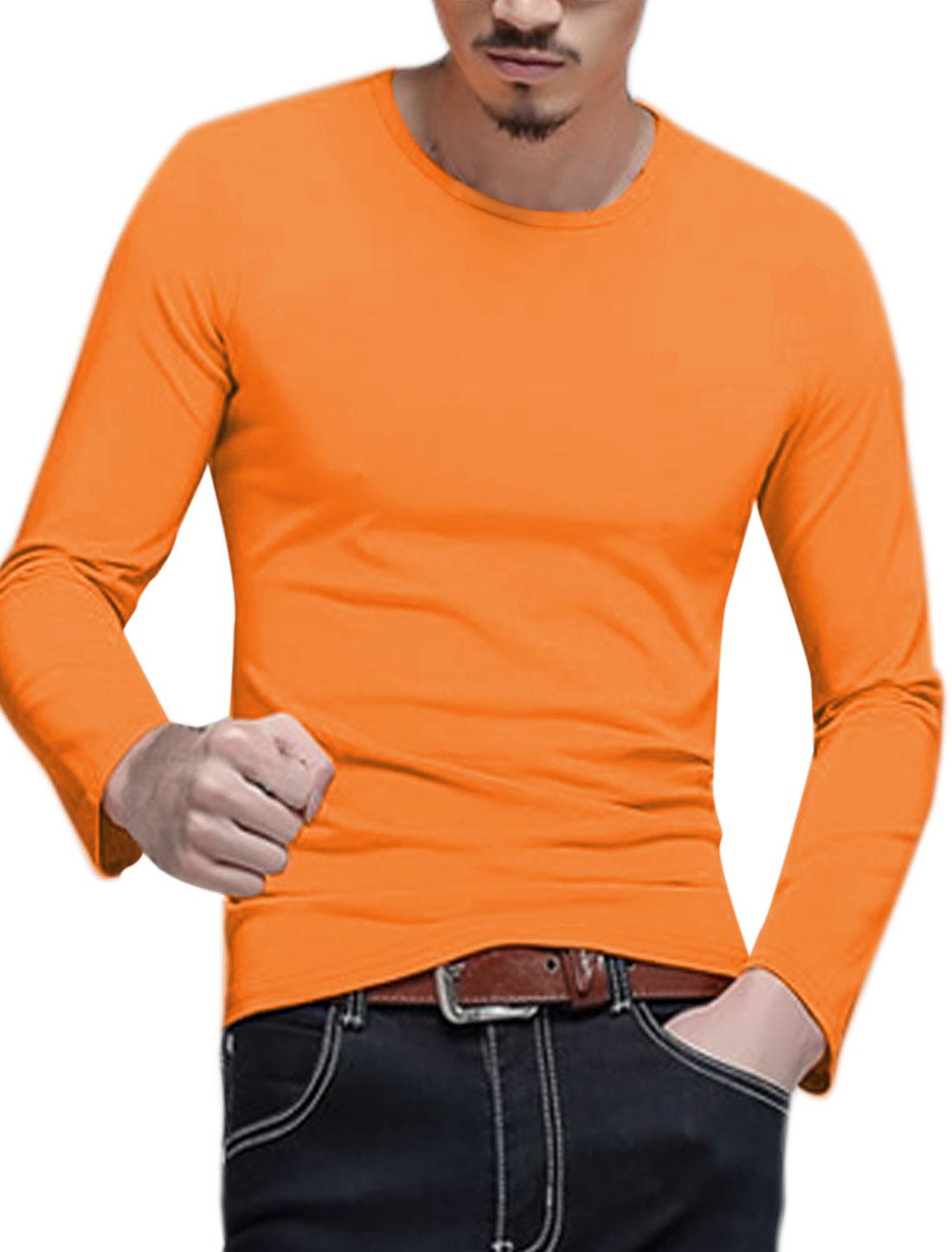Men Long Sleeves Crew Neck Slim Fit Tee Shirt Orange M