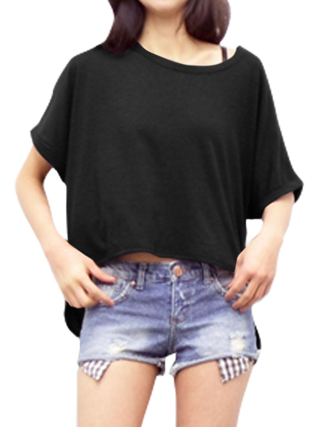 Women Round Neck Batwing Sleeves High Low Hem Loose Top Black XS