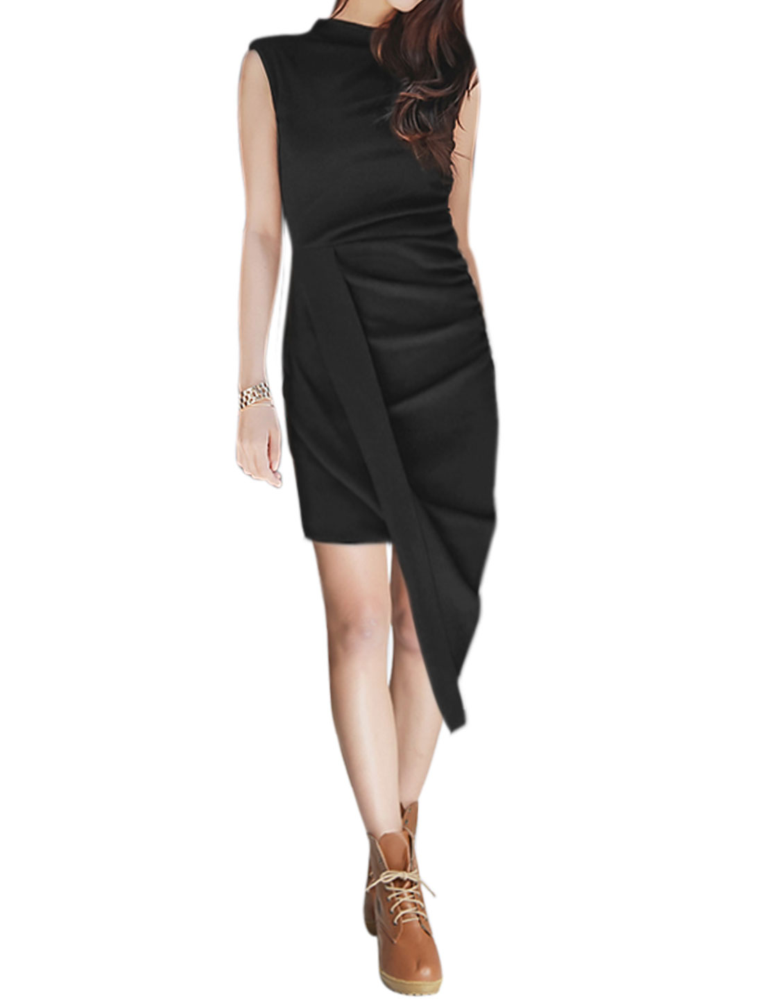 Women Mock Neck Overlay Front High Low Sheath Dress Black XS